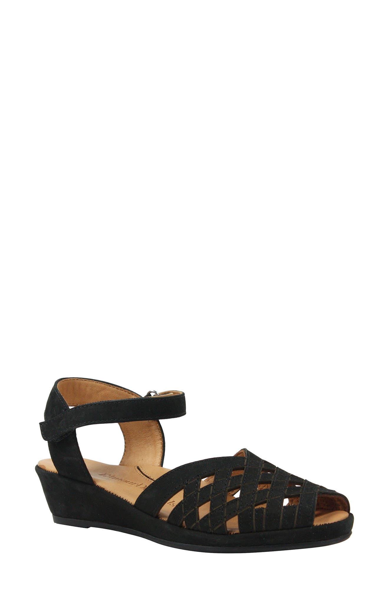 L'AMOUR DES PIEDS, Burcie Wedge Sandal, Main thumbnail 1, color, BLACK NUBUCK LEATHER