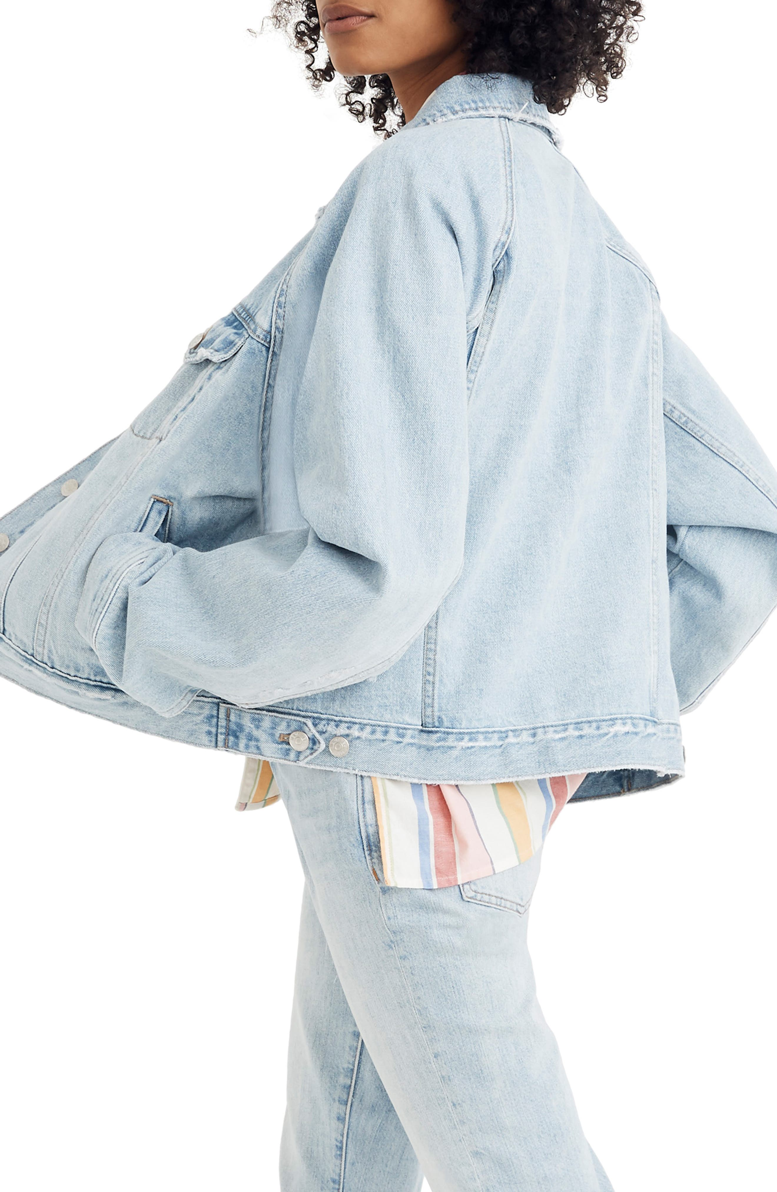 MADEWELL, The Raglan Oversize Jean Jacket, Alternate thumbnail 2, color, BRISTOL