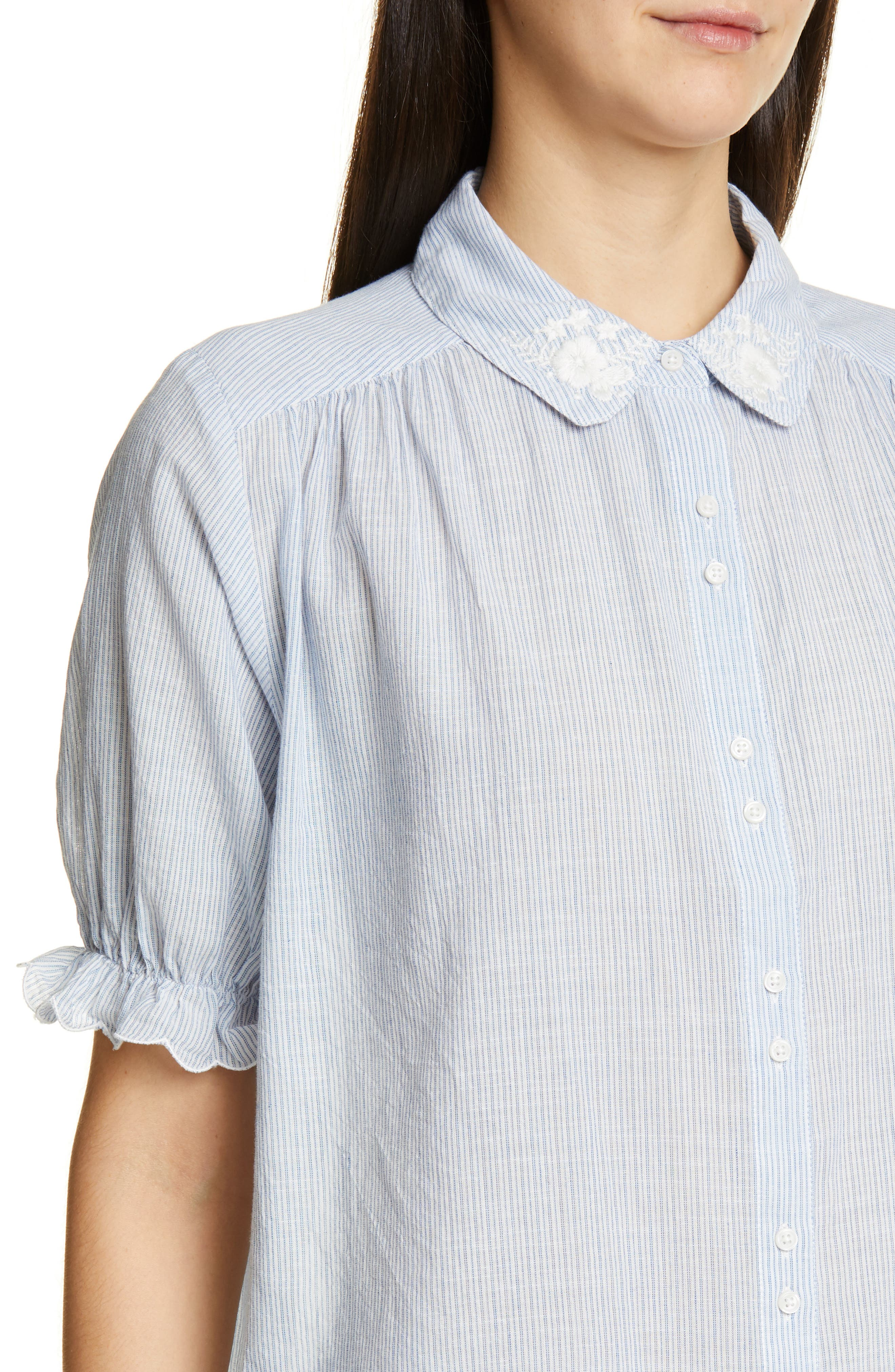 THE GREAT., The Kerchief Embroidered Cotton Top, Alternate thumbnail 4, color, CAROLINA STRIPE