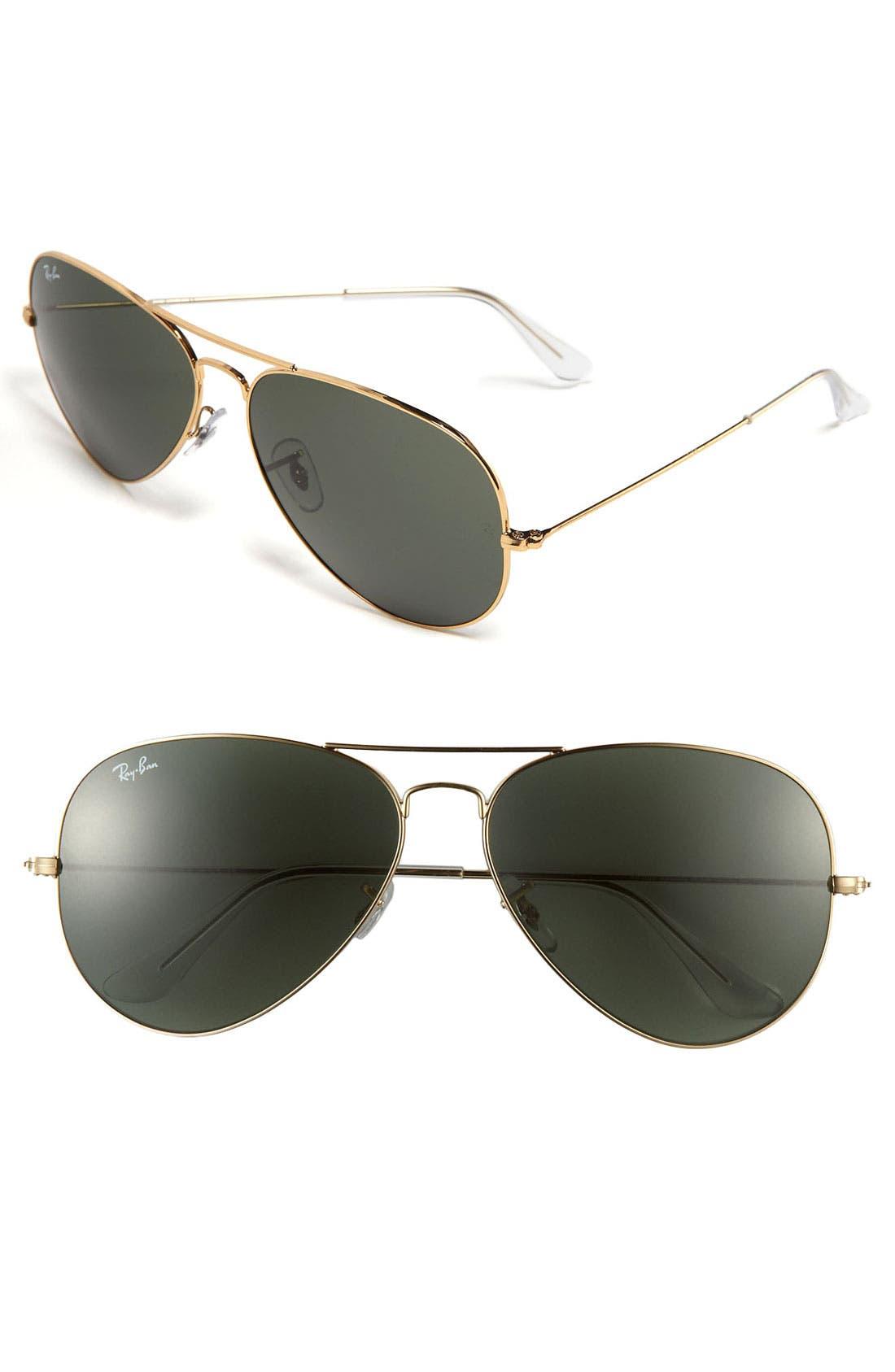 RAY-BAN, 'Org Aviator' 62mm Sunglasses, Main thumbnail 1, color, GOLD GREEN