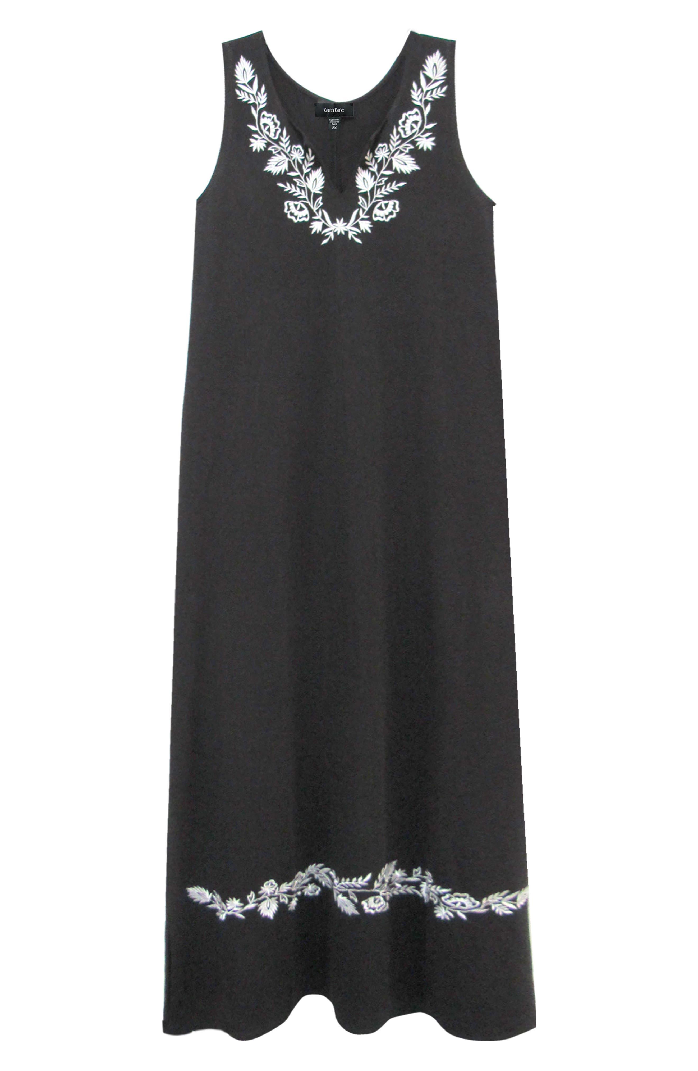 KAREN KANE, Embroidered Maxi Dress, Alternate thumbnail 3, color, BLACK