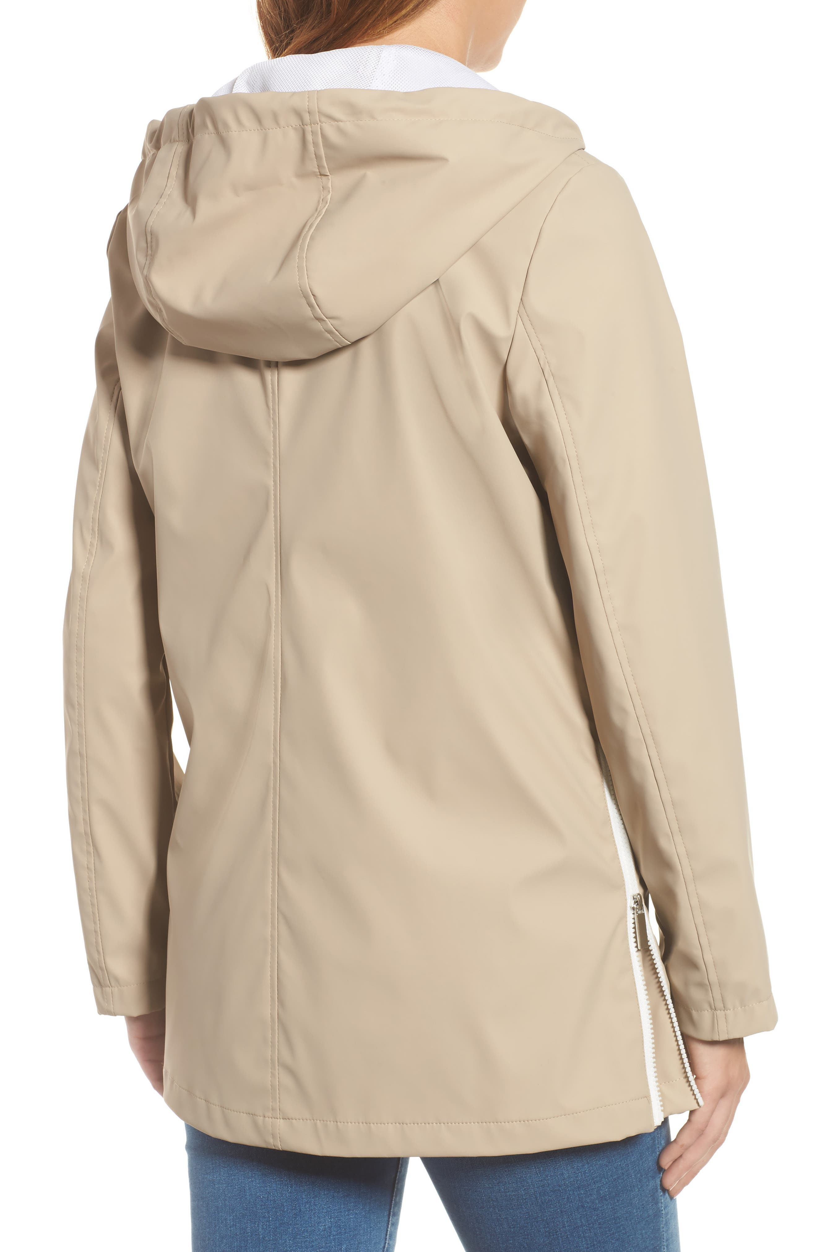 FRENCH CONNECTION, Side Zip Hem Hooded Slicker, Alternate thumbnail 2, color, 252