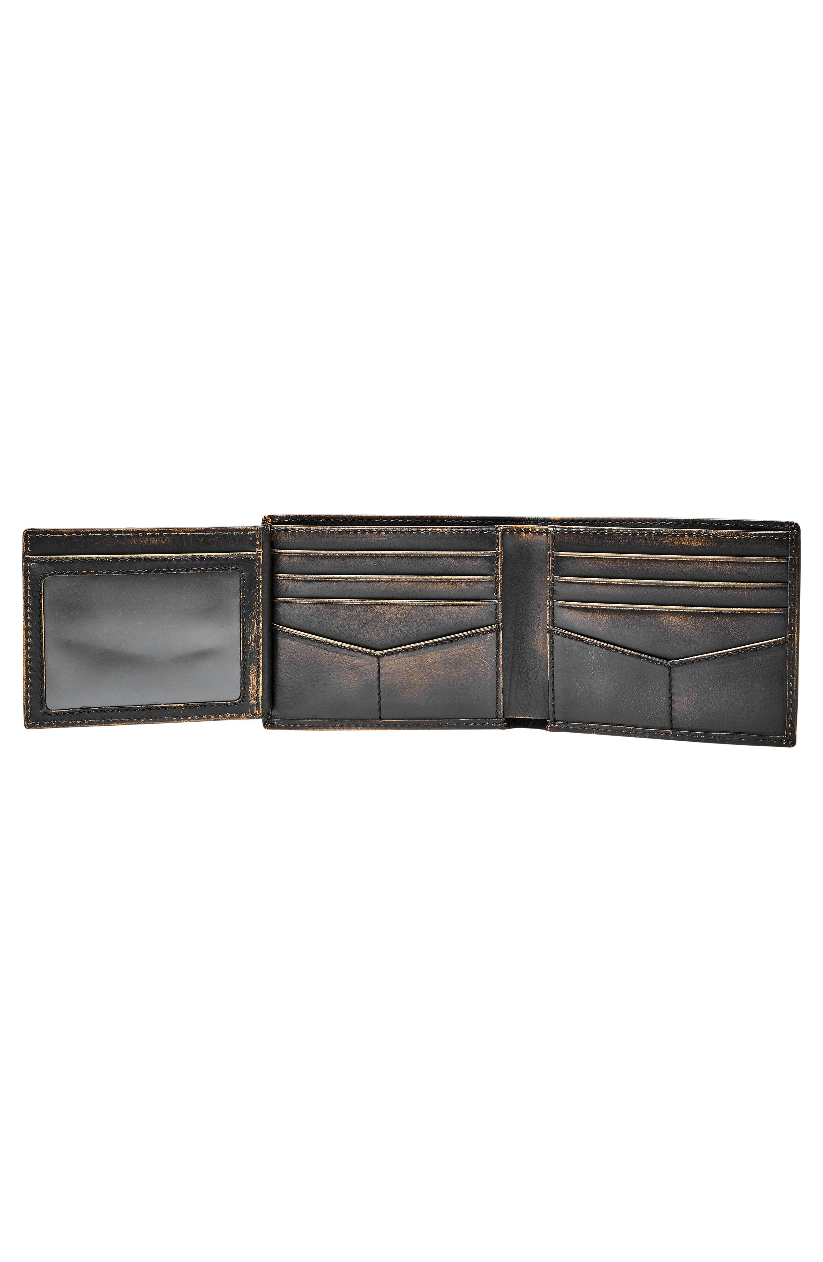 FOSSIL, Wade Leather Wallet, Alternate thumbnail 3, color, BLACK