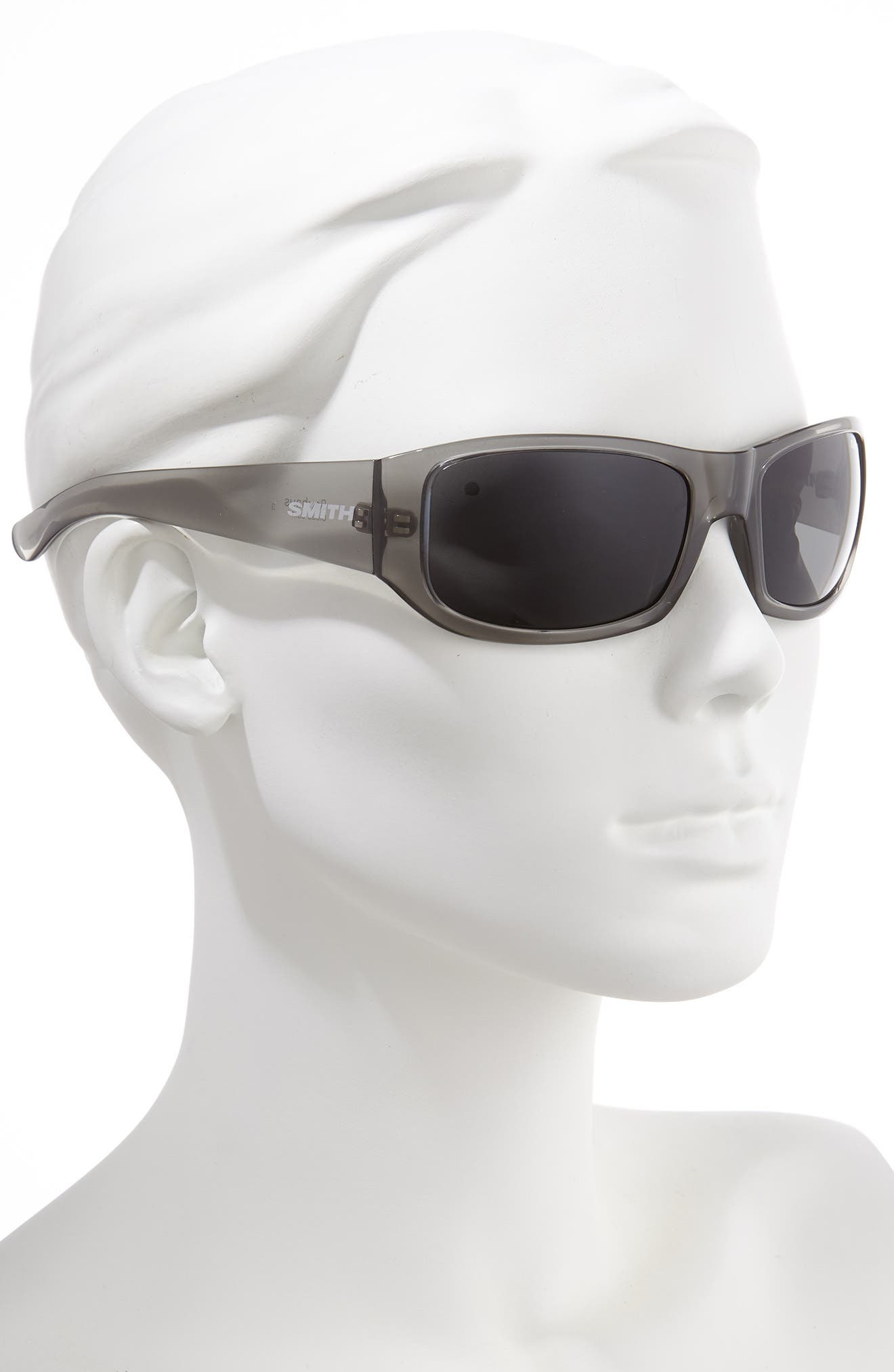 SMITH, Bauhaus 59mm ChromaPop<sup>™</sup> Polarized Wraparound Sunglasses, Alternate thumbnail 2, color, GREY CLOUD/ GREY