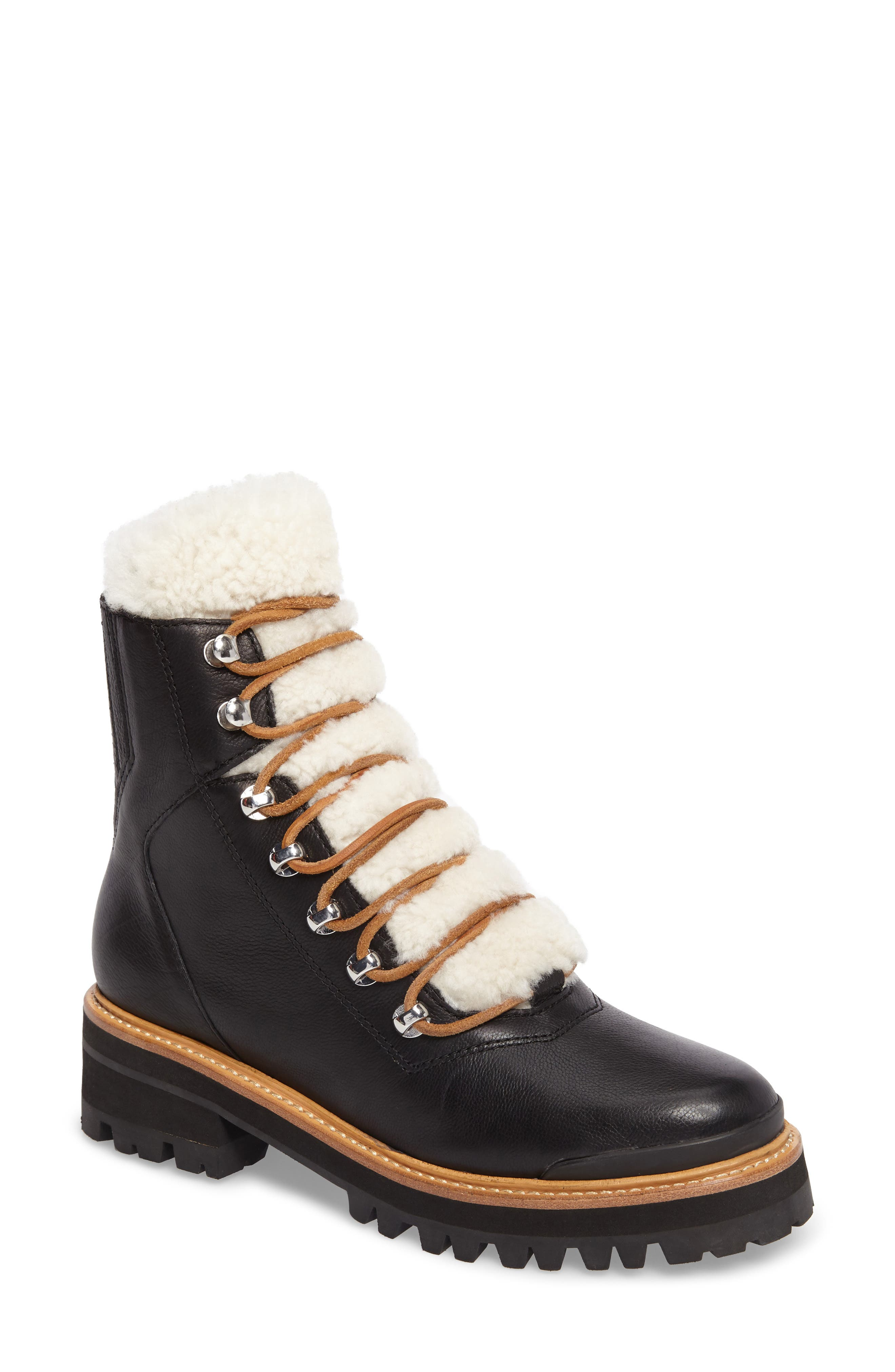 MARC FISHER LTD, Izzie Genuine Shearling Lace-Up Boot, Main thumbnail 1, color, BLACK LEATHER