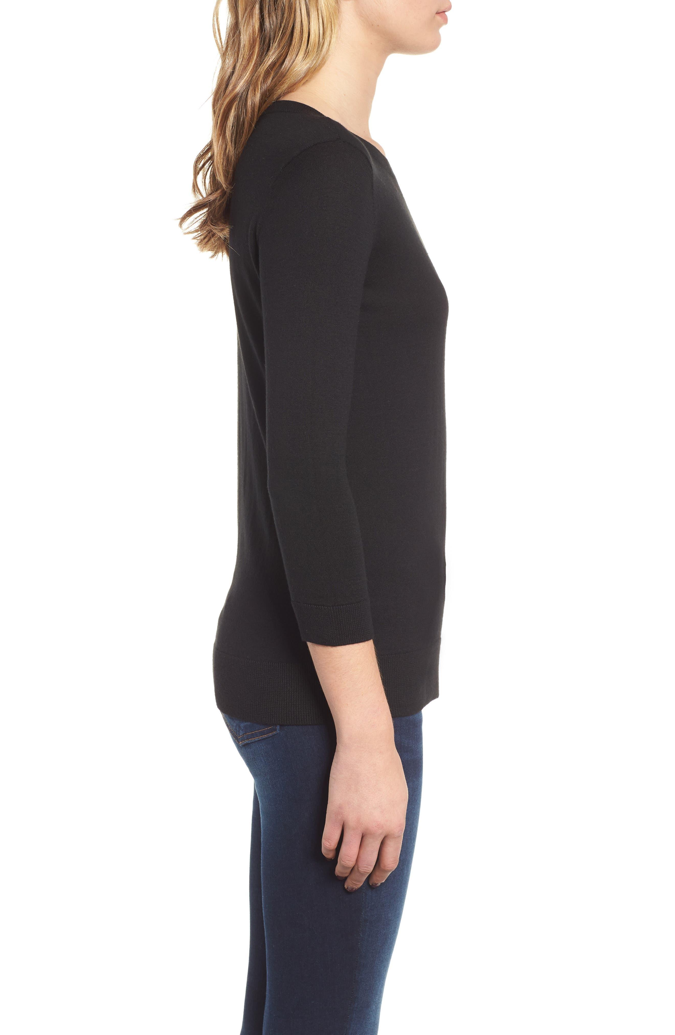 1901, Back Button Crewneck Sweater, Alternate thumbnail 3, color, BLACK
