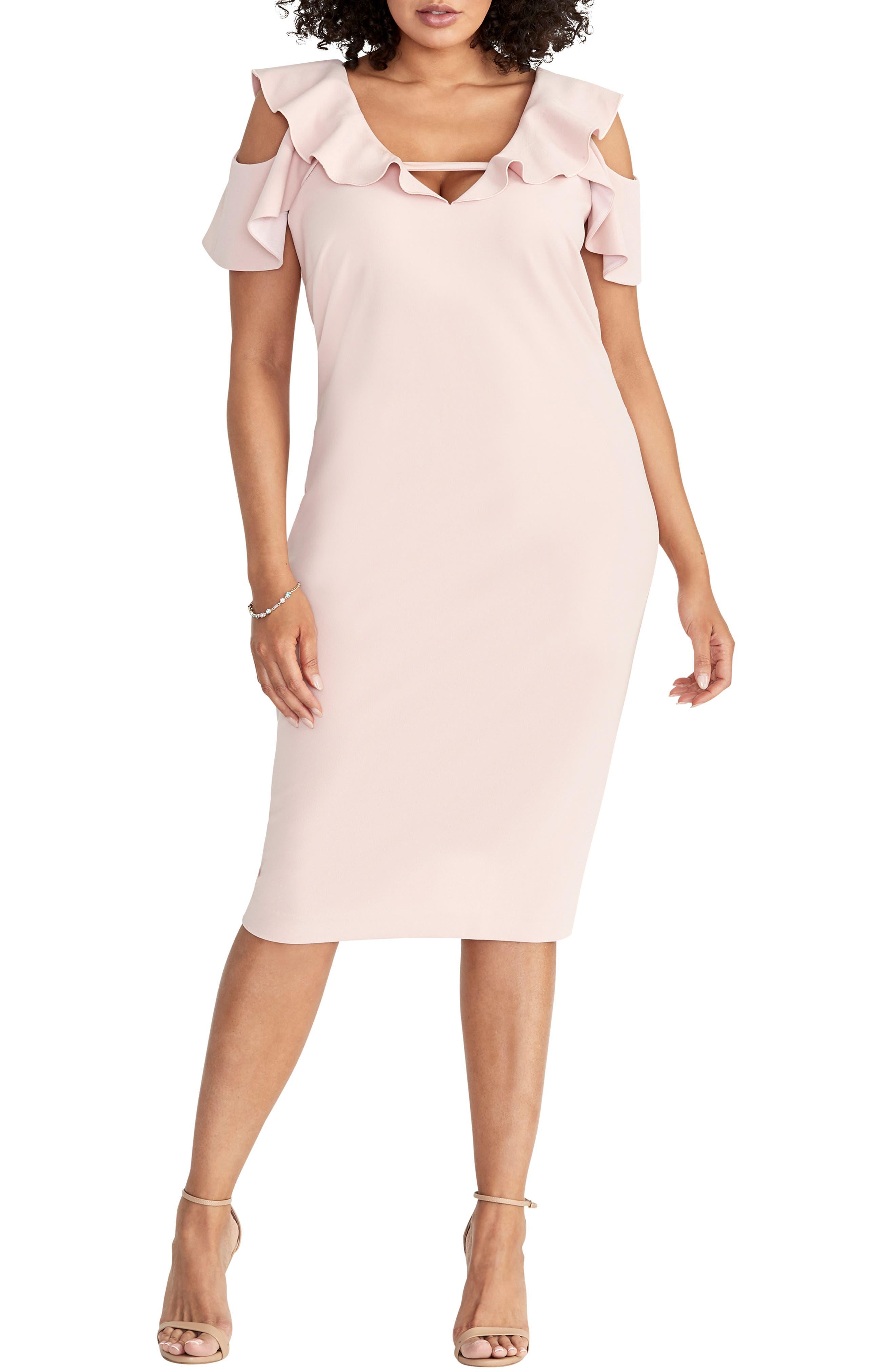 Plus Size Rachel Rachel Roy Ruffled Cold Shoulder Sheath Dress, Pink