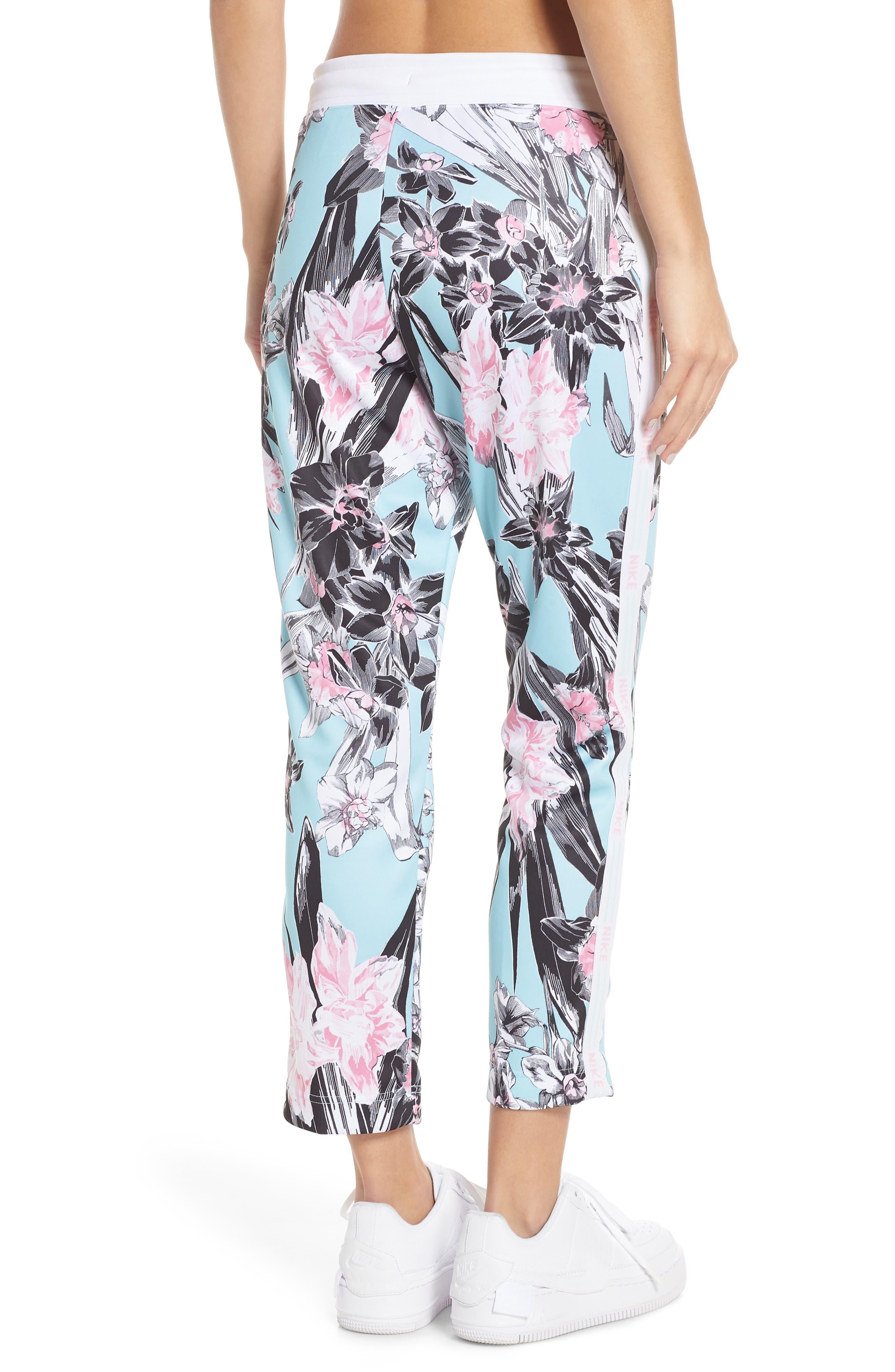 NIKE, Sportswear Floral Print Pants, Alternate thumbnail 4, color, TOPAZ MIST/ WHITE/ WHITE