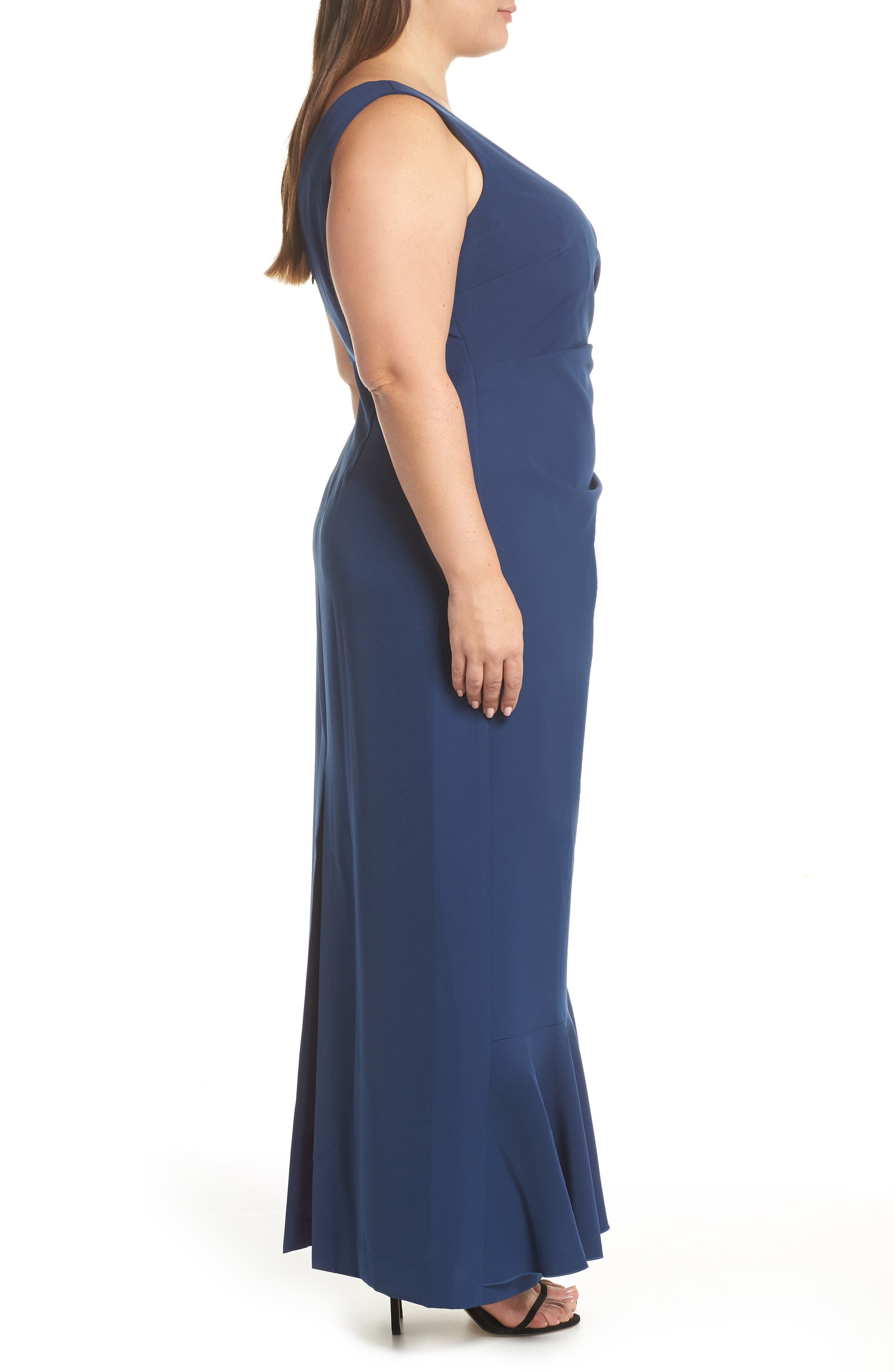 VINCE CAMUTO, Side Drape Ruffle Gown, Alternate thumbnail 4, color, 421