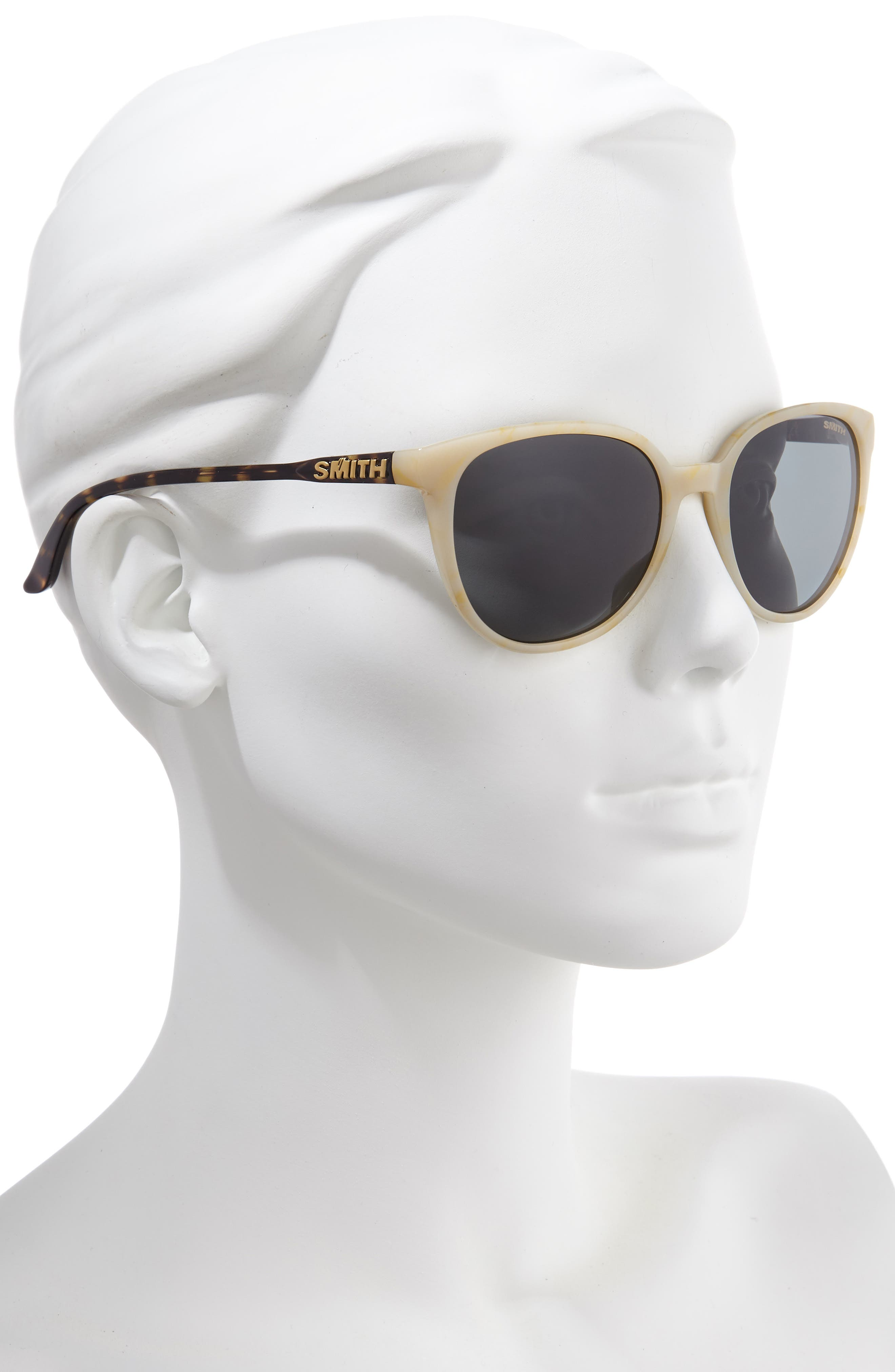 SMITH, Cheetah 54mm ChromaPop<sup>™</sup> Polarized Round Sunglasses, Alternate thumbnail 2, color, IVORY TORTOISE