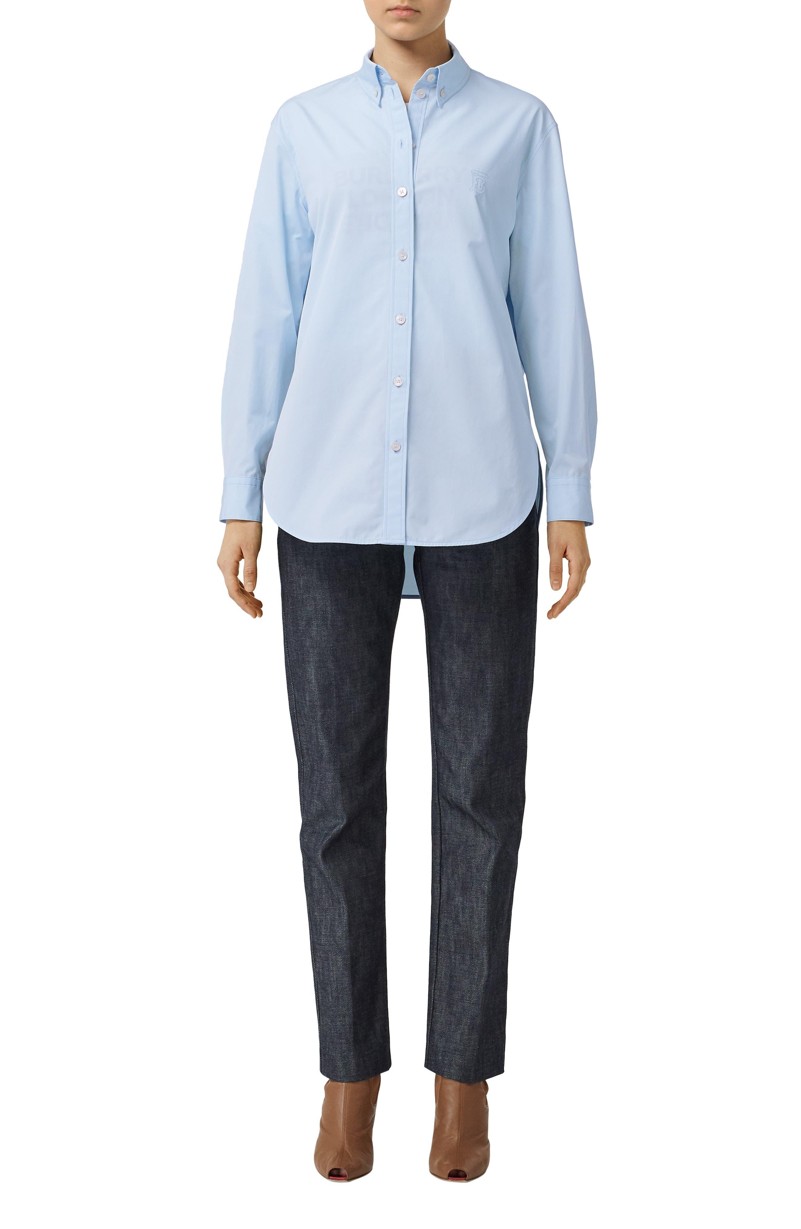 BURBERRY, Monogram Regular Fit Cotton Shirt, Main thumbnail 1, color, PALE BLUE