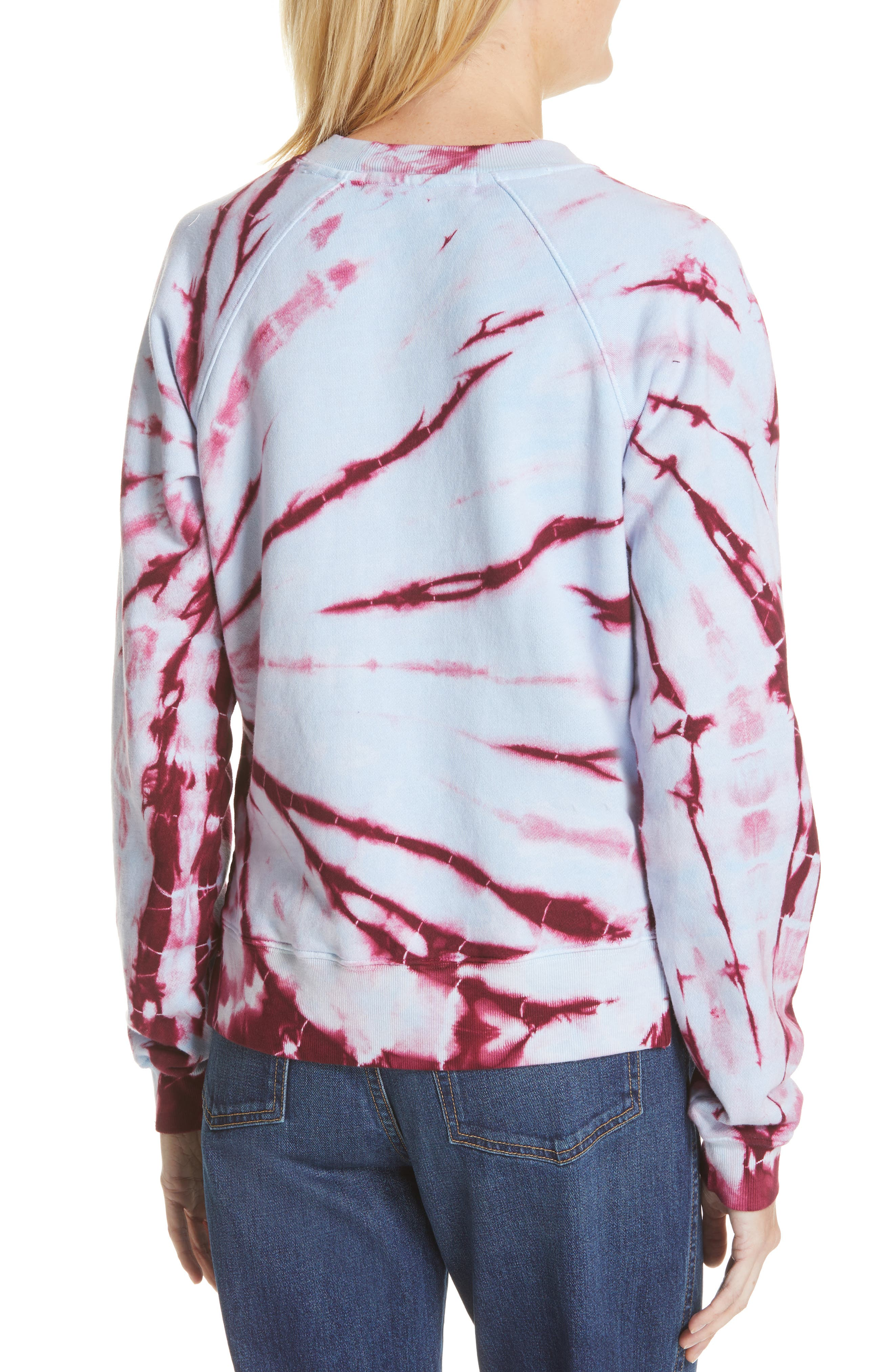 PROENZA SCHOULER, PSWL Tie Dye Sweatshirt, Alternate thumbnail 2, color, BABY BLUE/ RED TIE DYE