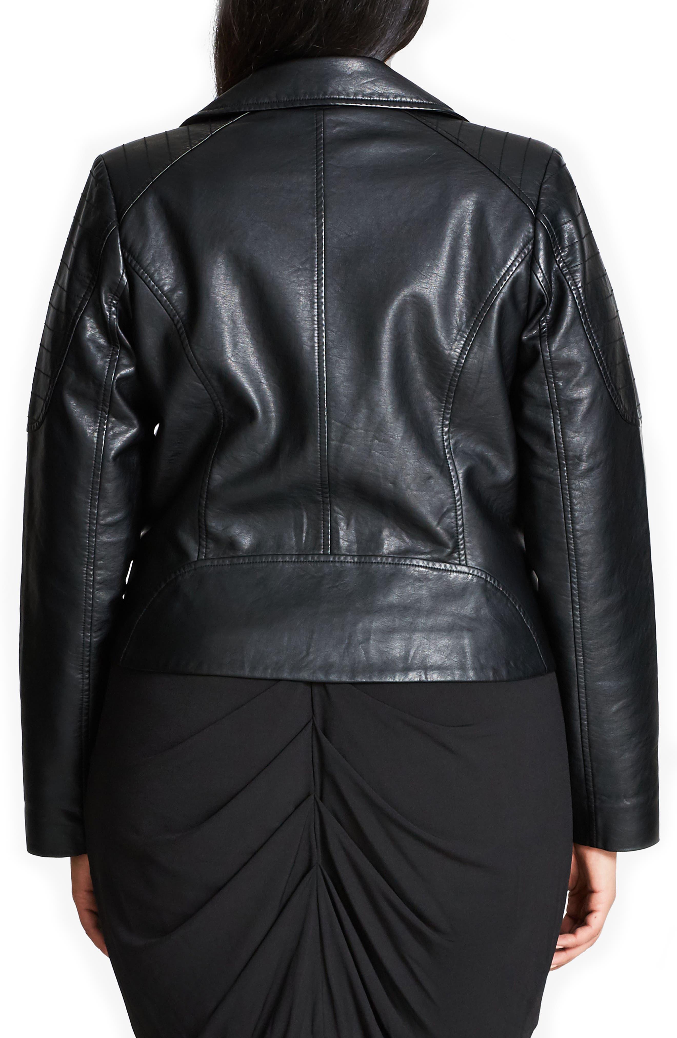 CITY CHIC, Faux Leather Biker Jacket, Alternate thumbnail 2, color, BLACK