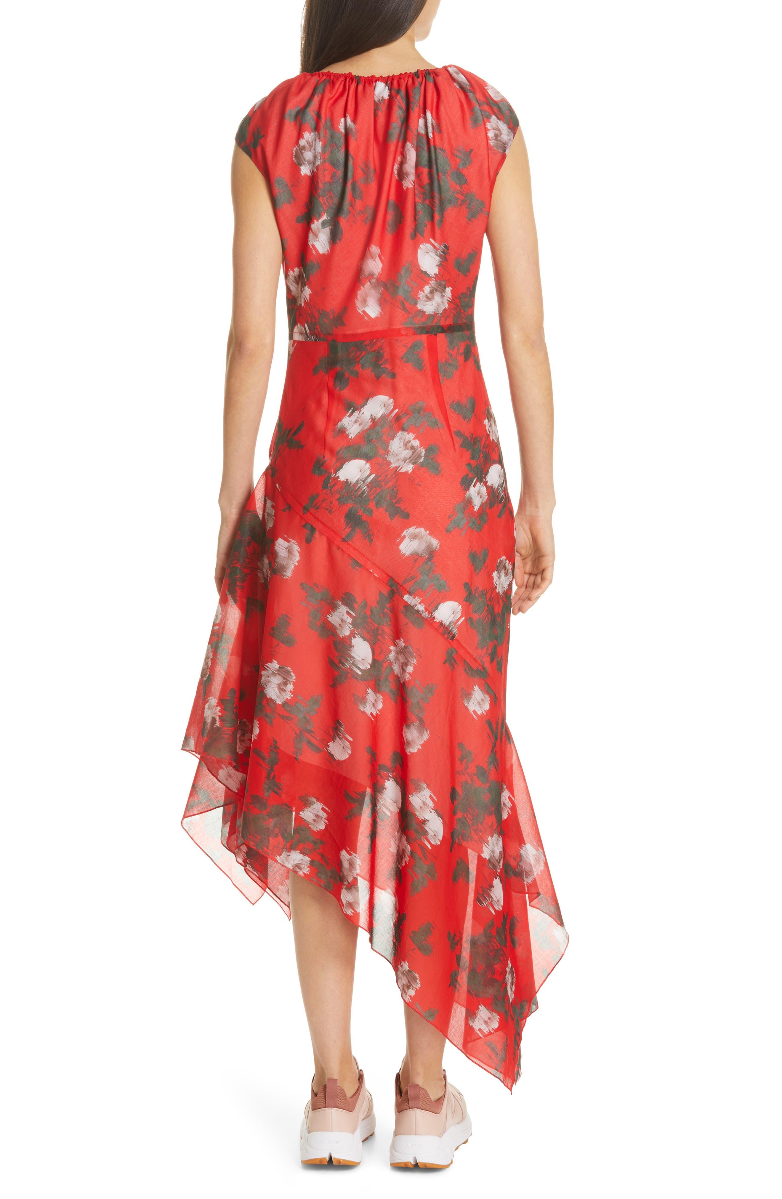 HUGO, Kefesha Asymmetrical Midi Dress, Alternate thumbnail 2, color, RED