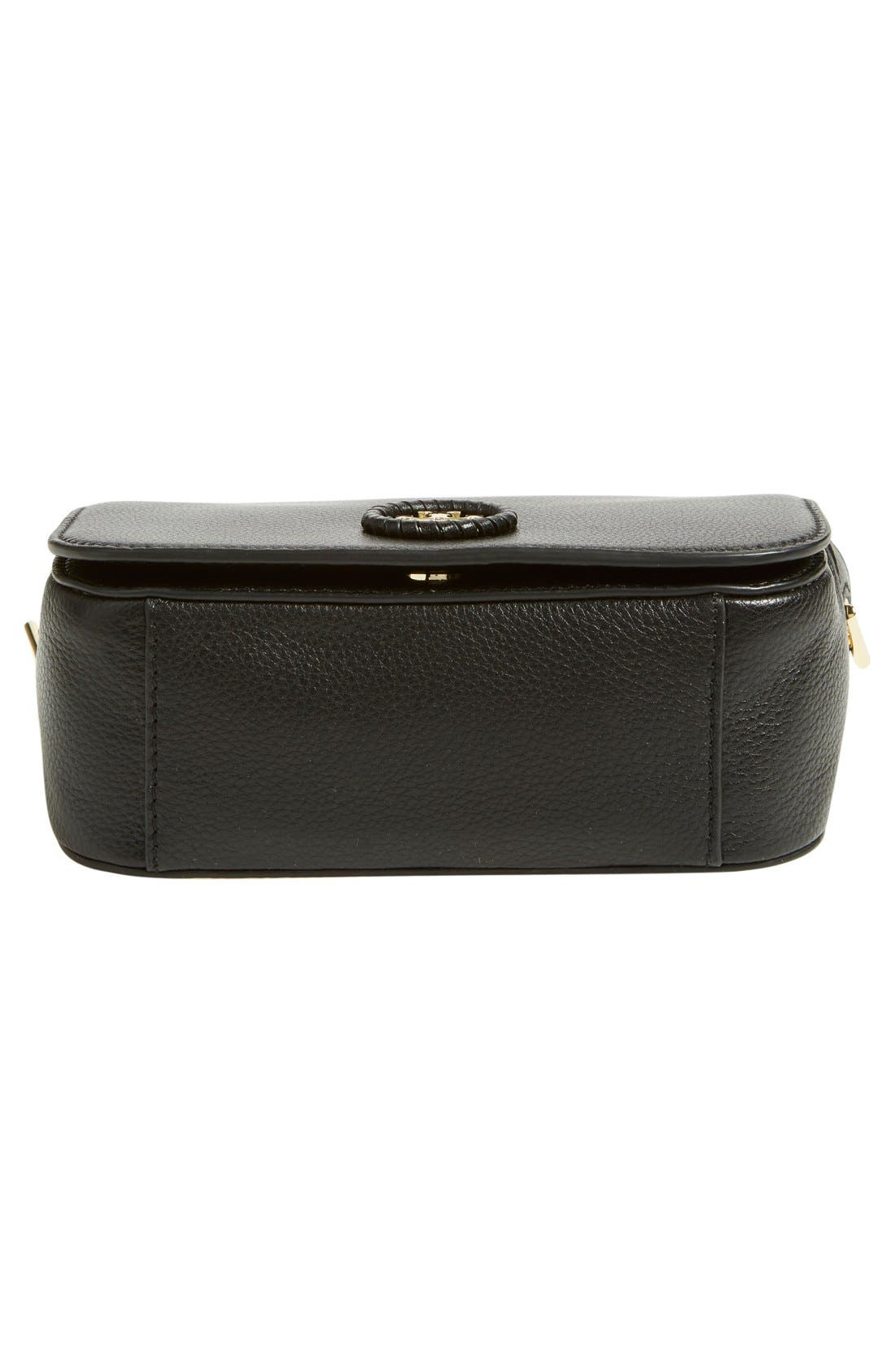 TORY BURCH, Mini Leather Crossbody Bag, Alternate thumbnail 4, color, 001