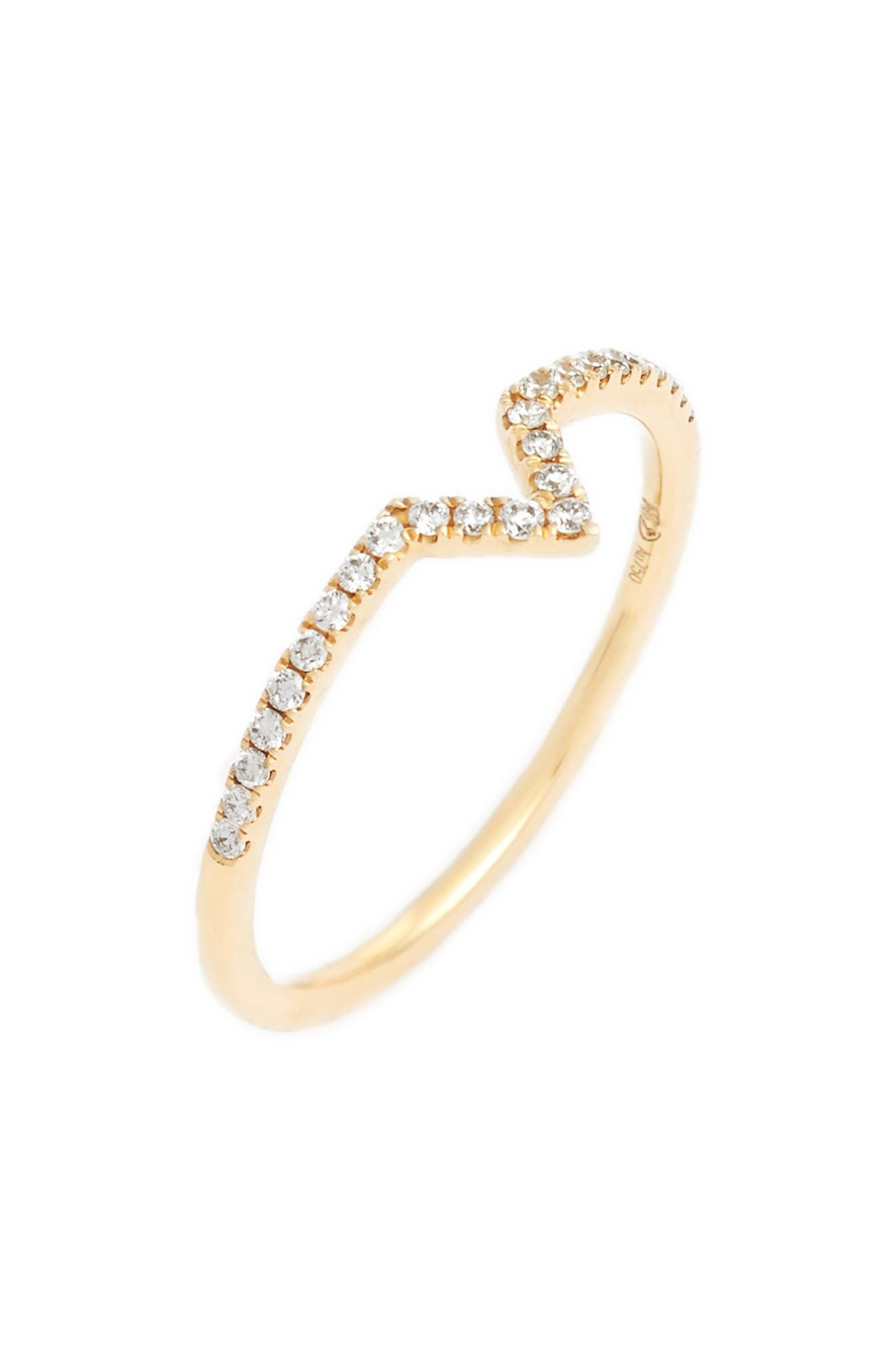 BONY LEVY, Open Triangle Stackable Diamond Ring, Main thumbnail 1, color, YELLOW GOLD