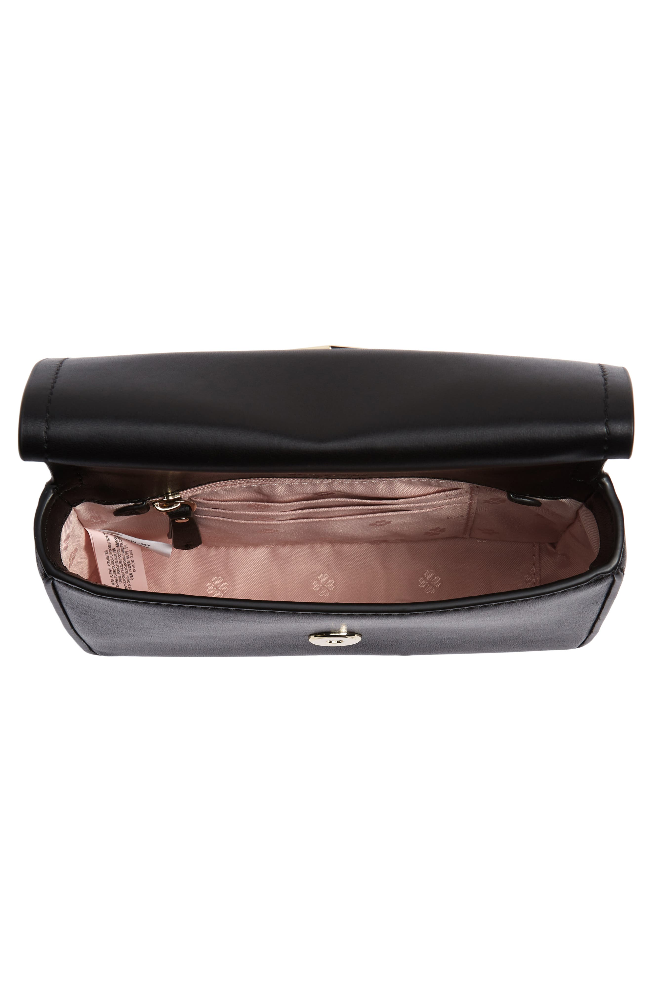 KATE SPADE NEW YORK, small amelia leather shoulder bag, Alternate thumbnail 5, color, BLACK