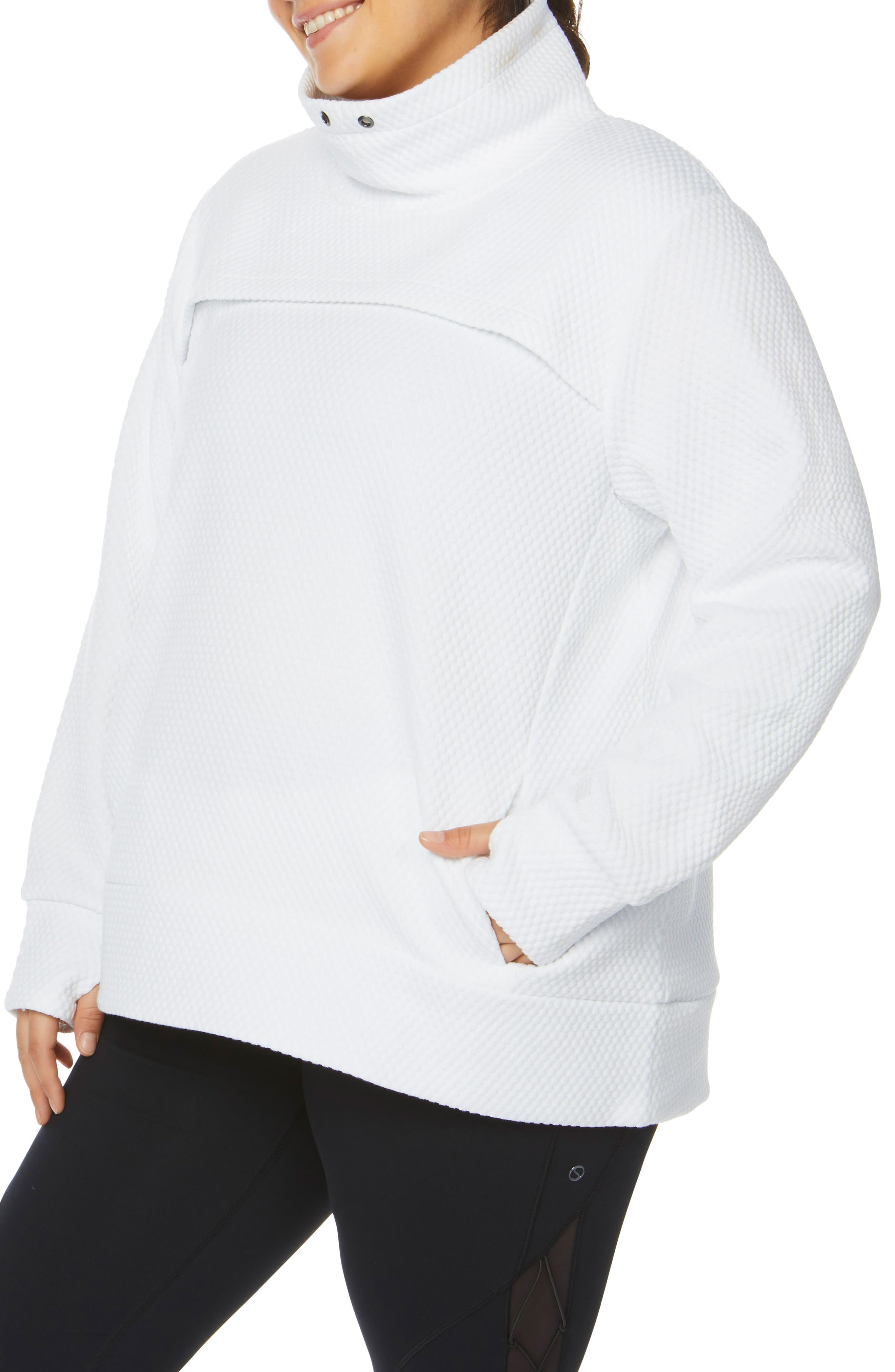 SHAPE ACTIVEWEAR, Overcast Funnel Neck Pullover, Alternate thumbnail 4, color, 100