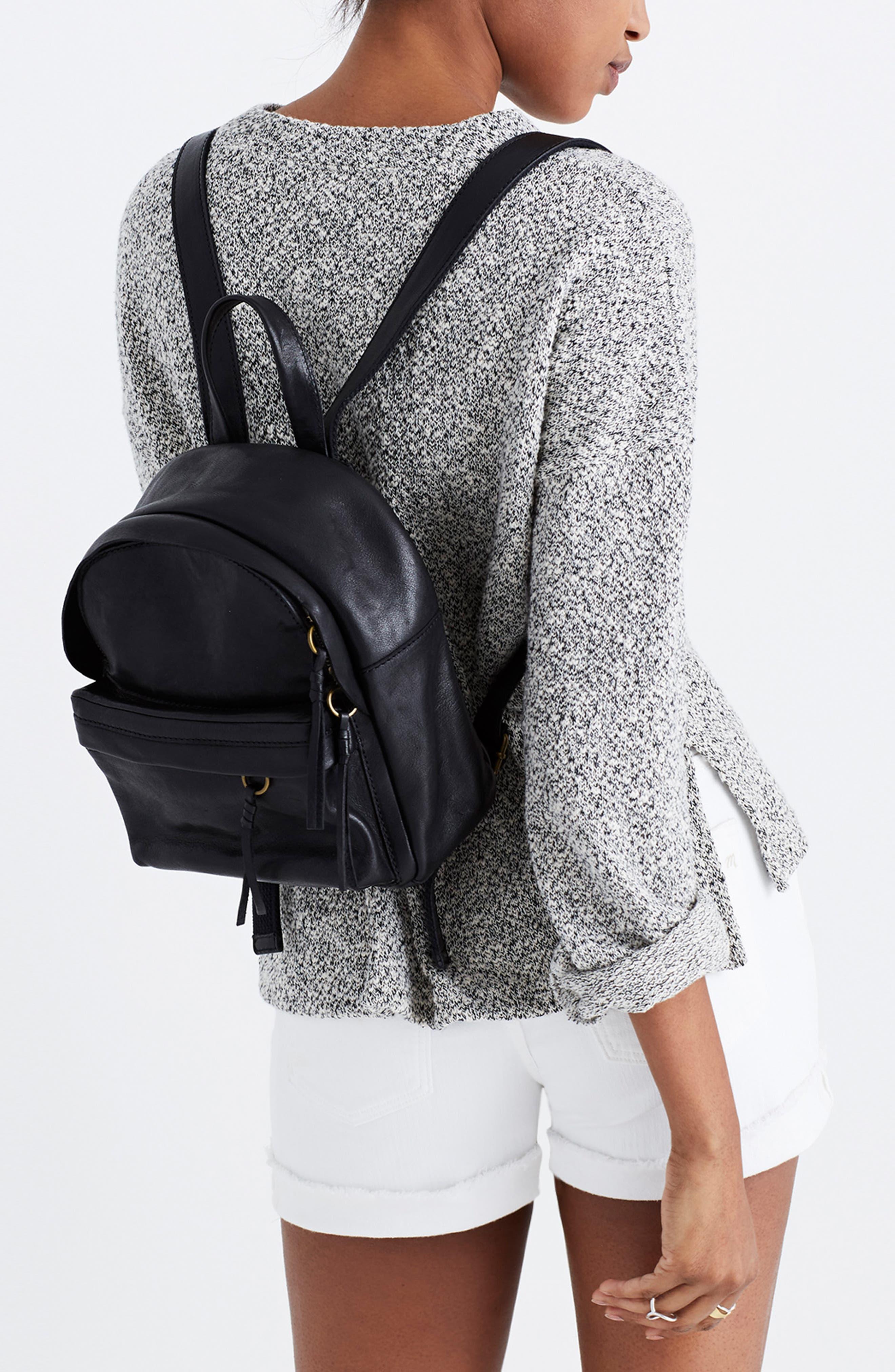 MADEWELL, Mini Lorimer Leather Backpack, Alternate thumbnail 2, color, TRUE BLACK