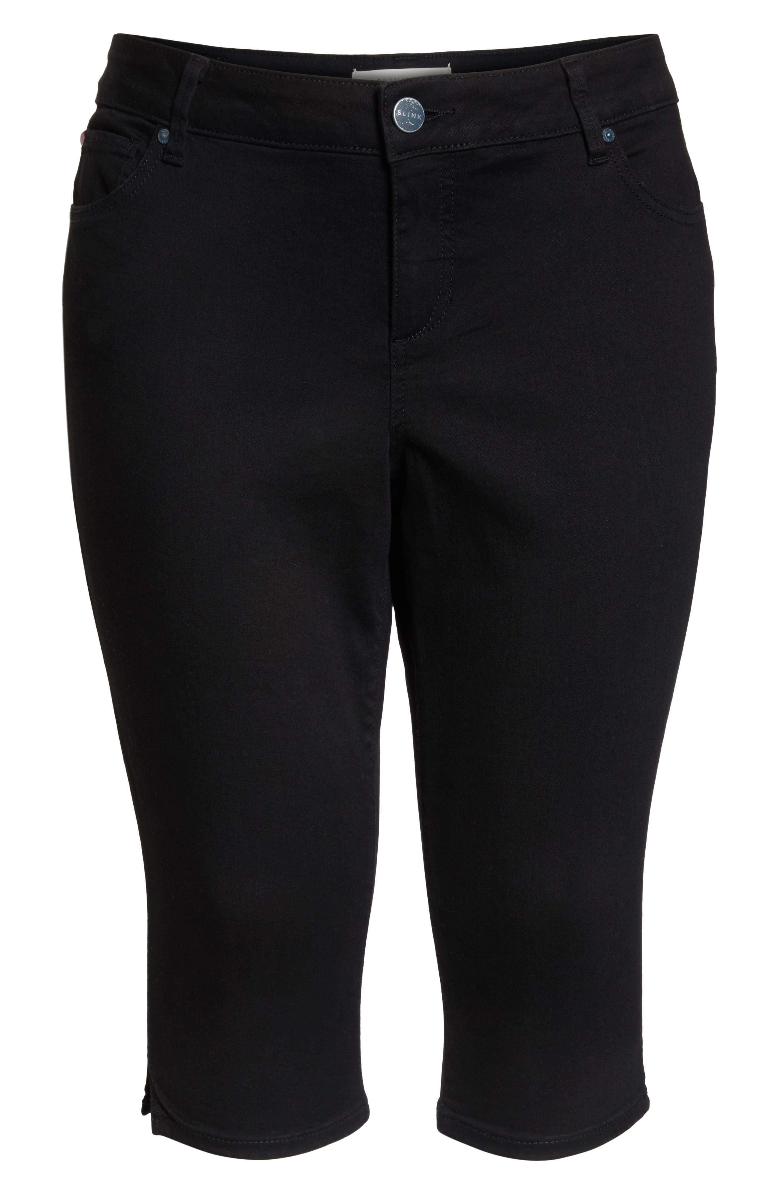 SLINK JEANS, Pirate Capri Skinny Jeans, Alternate thumbnail 5, color, BLACK