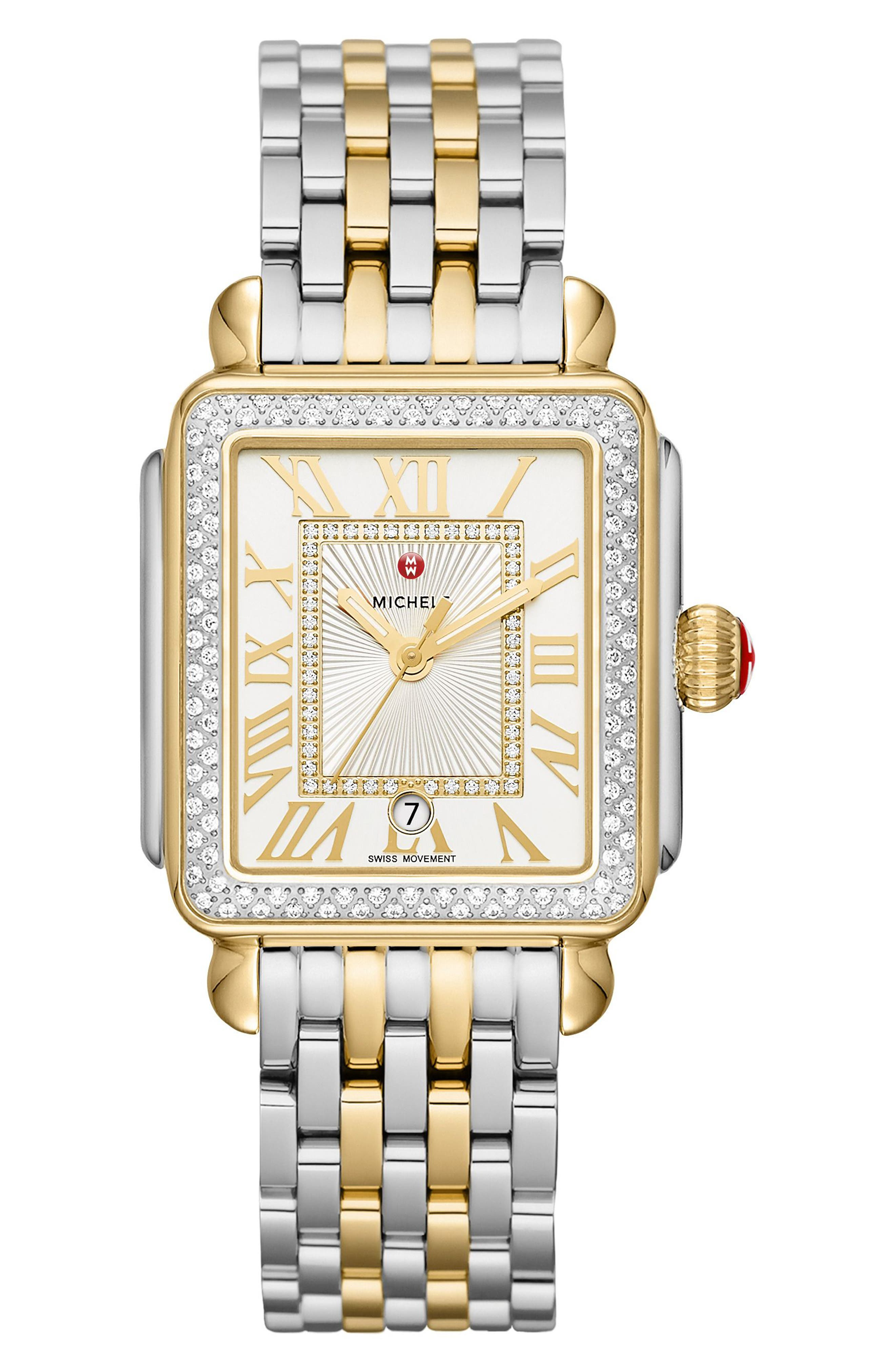 MICHELE, Deco Madison Diamond Dial Watch Case, 33mm x 35mm, Alternate thumbnail 2, color, GOLD