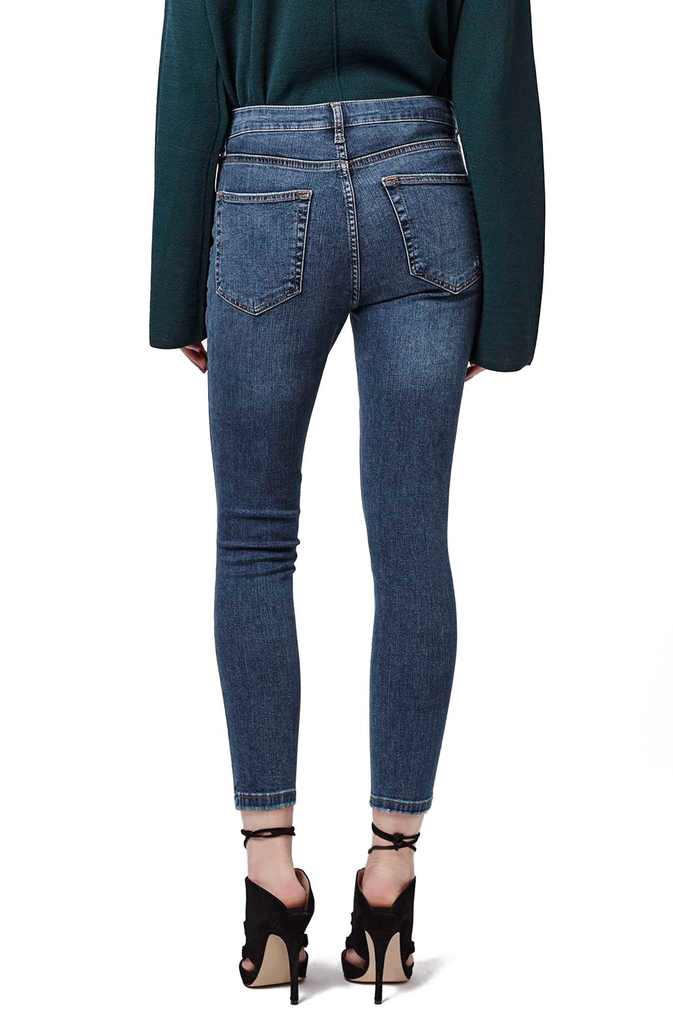 TOPSHOP, Moto 'Jamie' Ripped Skinny Ankle Jeans, Alternate thumbnail 10, color, MID DENIM