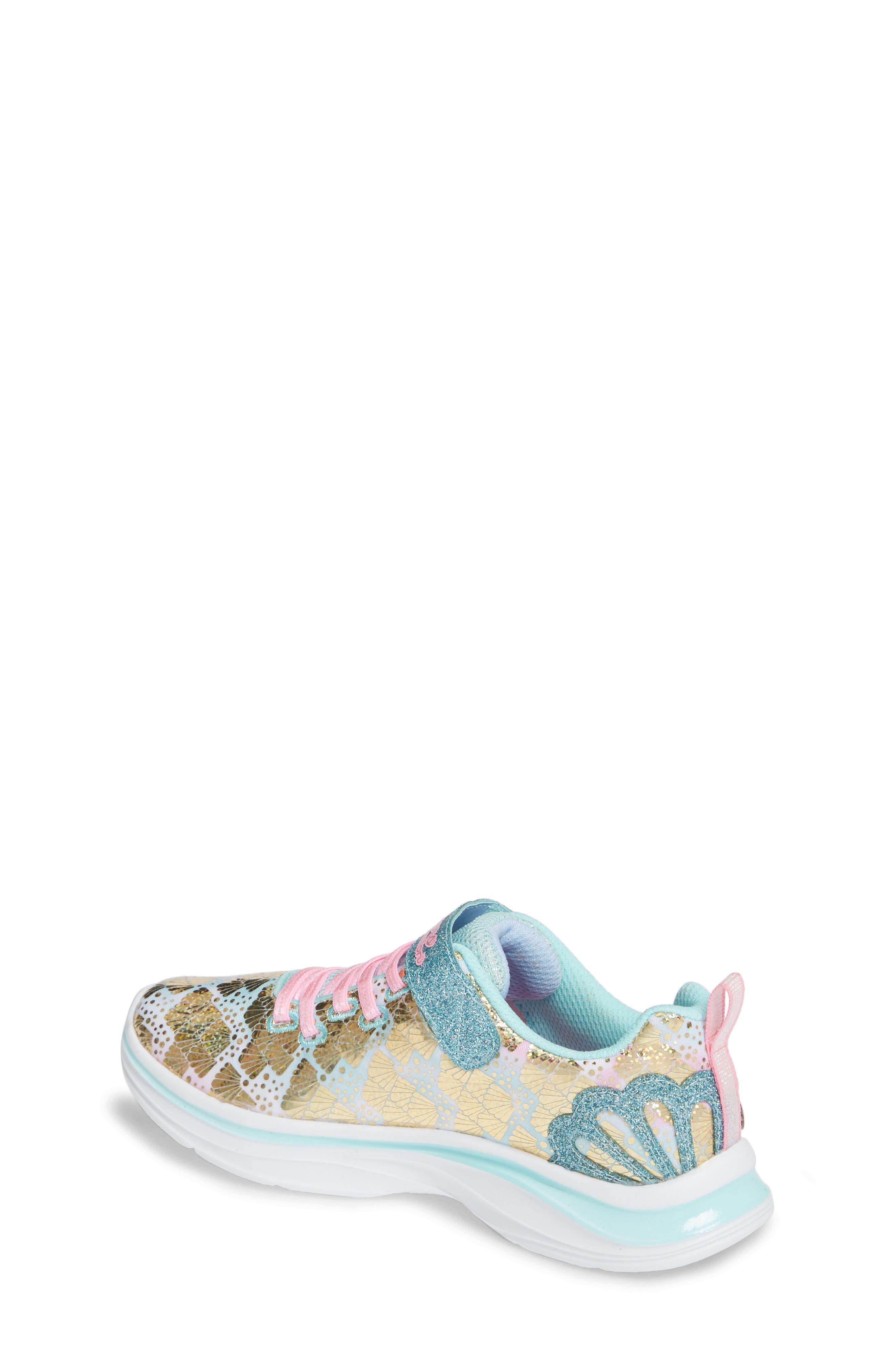 SKECHERS, Double Dreams Shimmer Sneaker, Alternate thumbnail 2, color, AQUA/ PINK TEXTILE