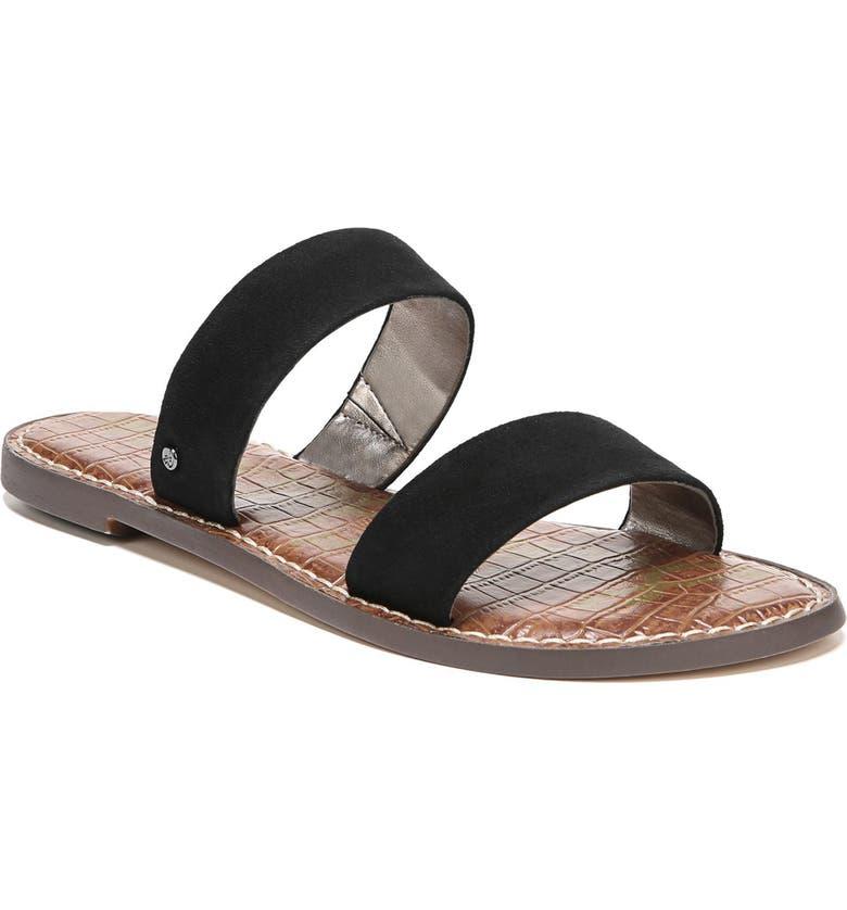 91f03f7c6de Sam Edelman Gala Two Strap Slide Sandal In Black Suede