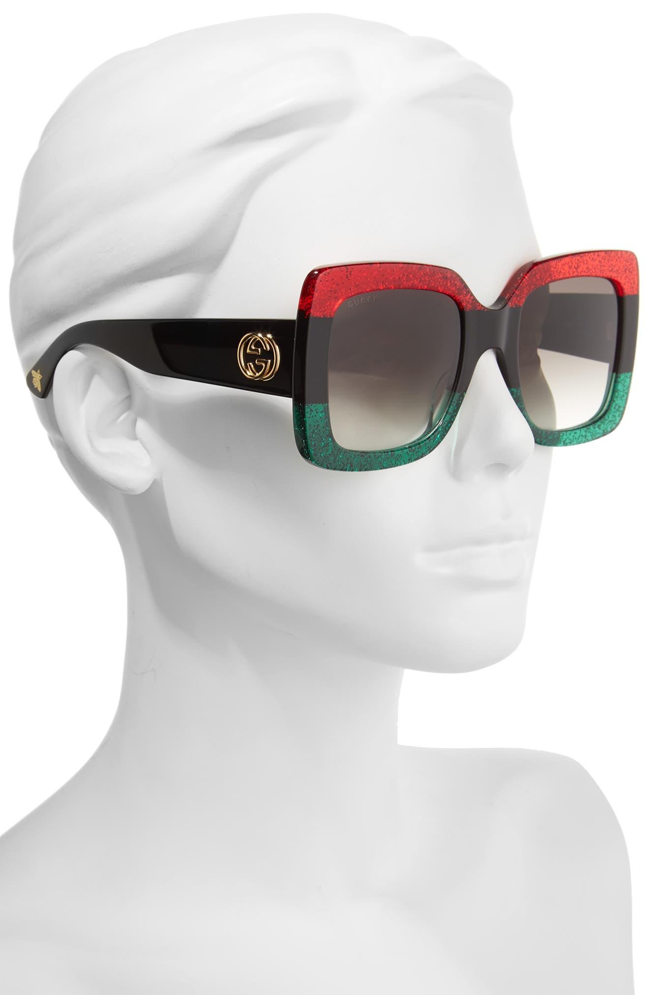 GUCCI, 55mm Square Sunglasses, Alternate thumbnail 2, color, RED BLACK GREEN/ GREY