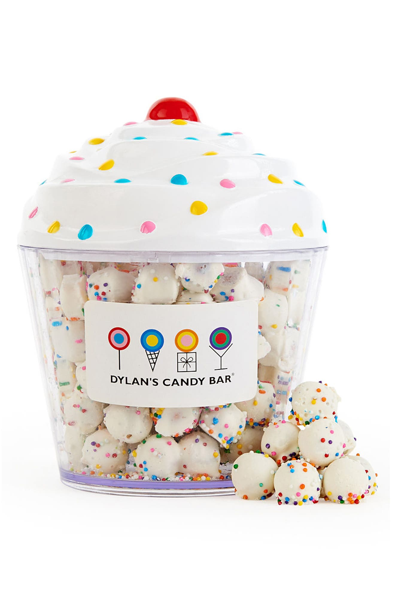 DYLAN'S CANDY BAR White Chocolate Pretzel Balls Cupcake, Main, color, WHITE
