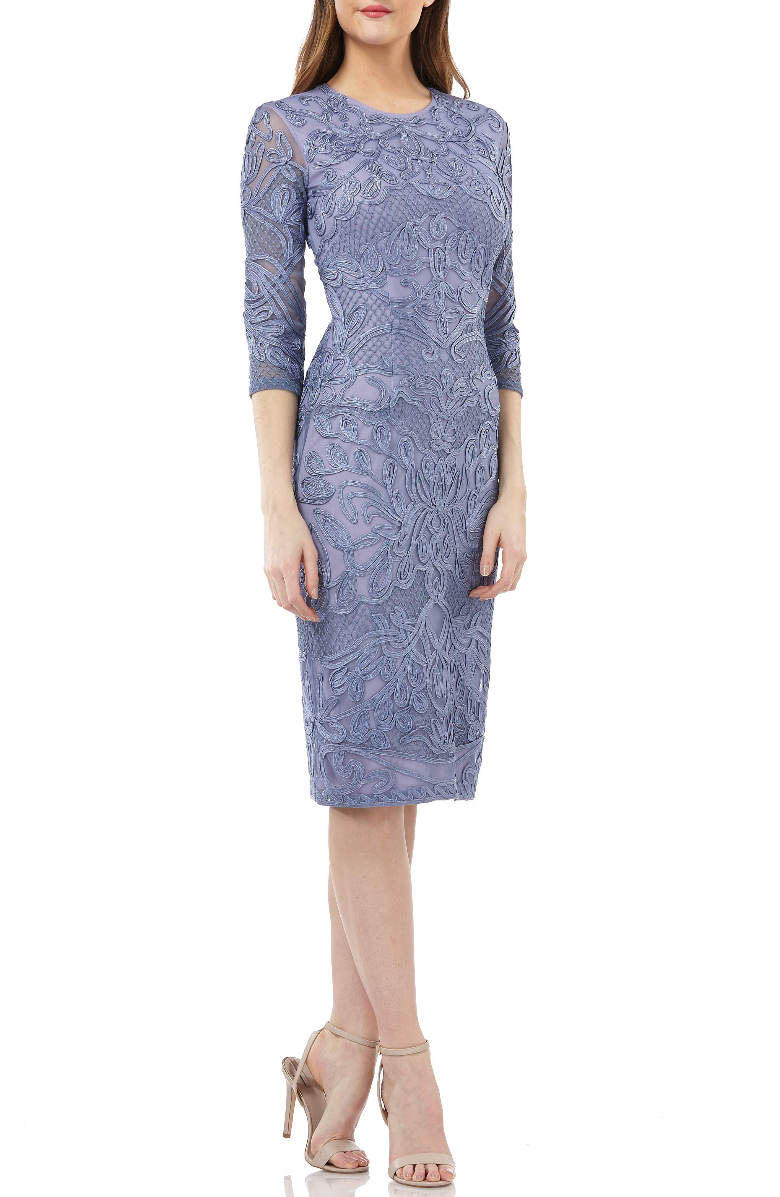 JS COLLECTIONS, Soutache Sheath Dress, Main thumbnail 1, color, PERIWINKLE
