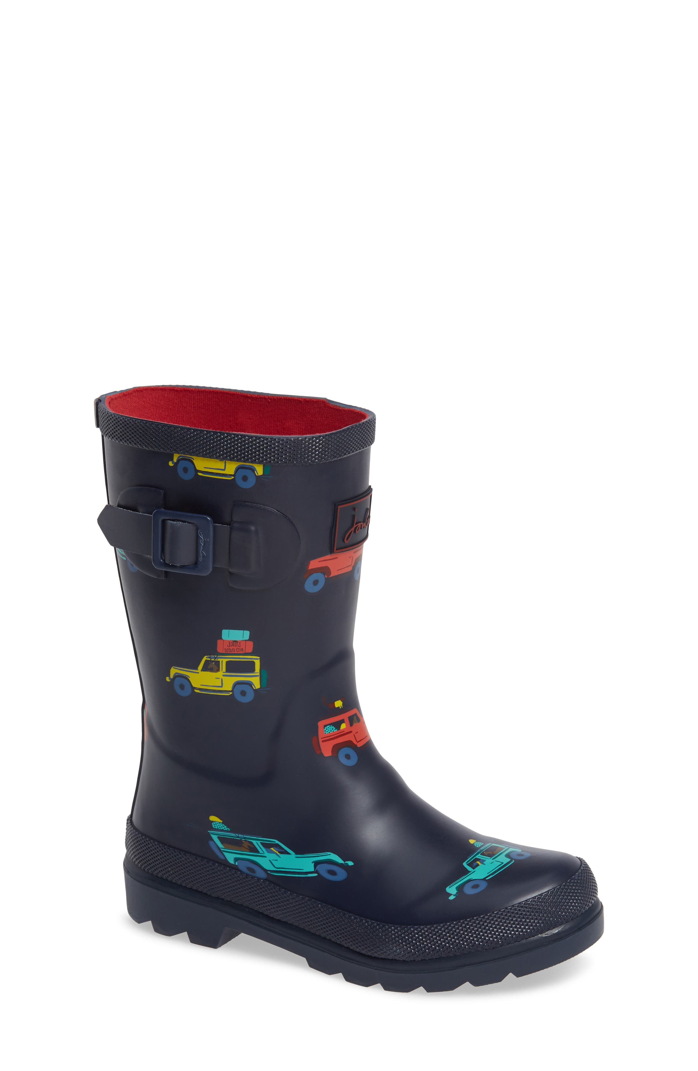 JOULES, Welly Print Waterproof Rain Boot, Main thumbnail 1, color, NAVY SCOUT AND ABOUT
