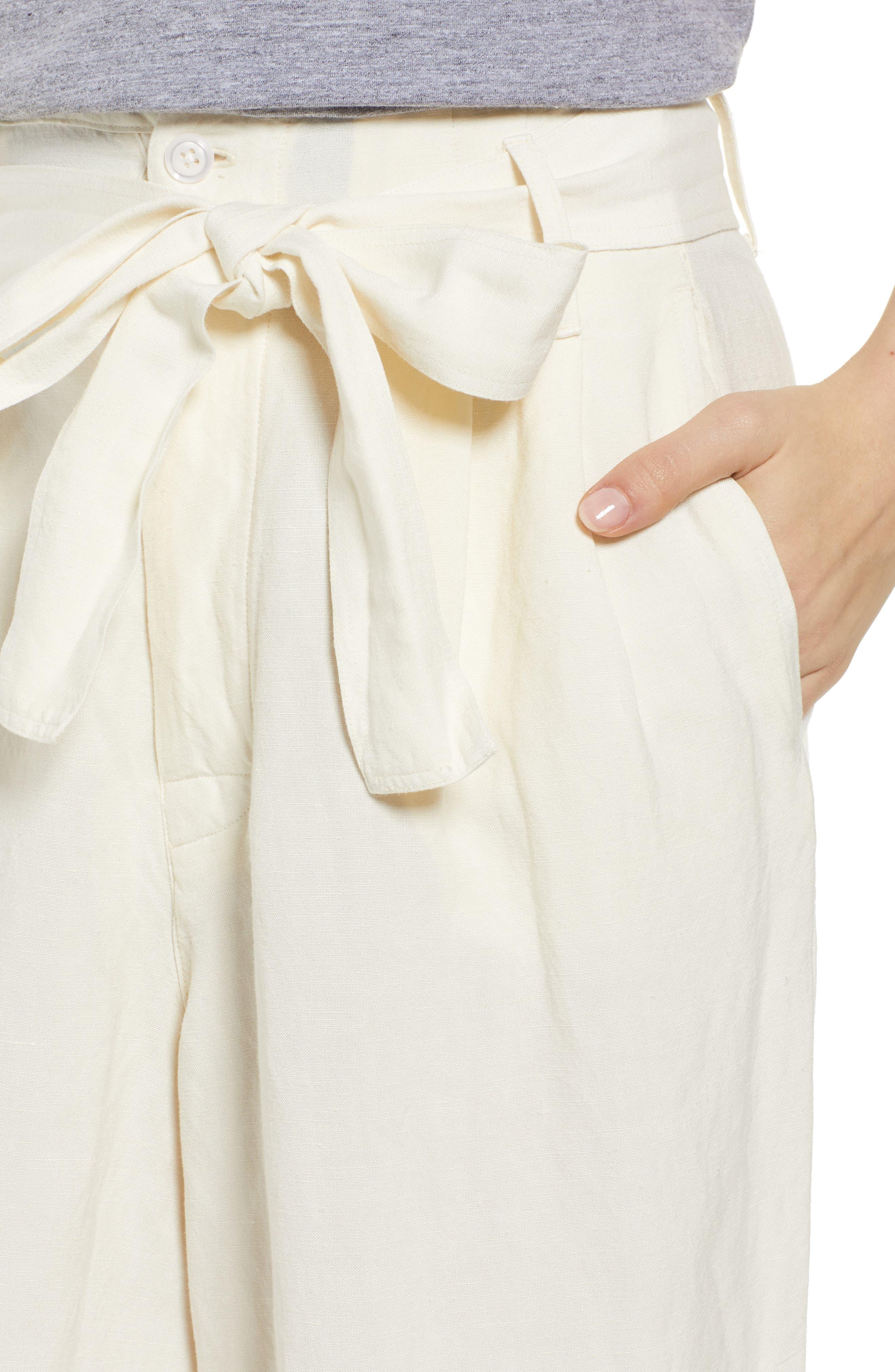 RAILS, Jess Paperbag Waist Pants, Alternate thumbnail 5, color, PARCHMENT