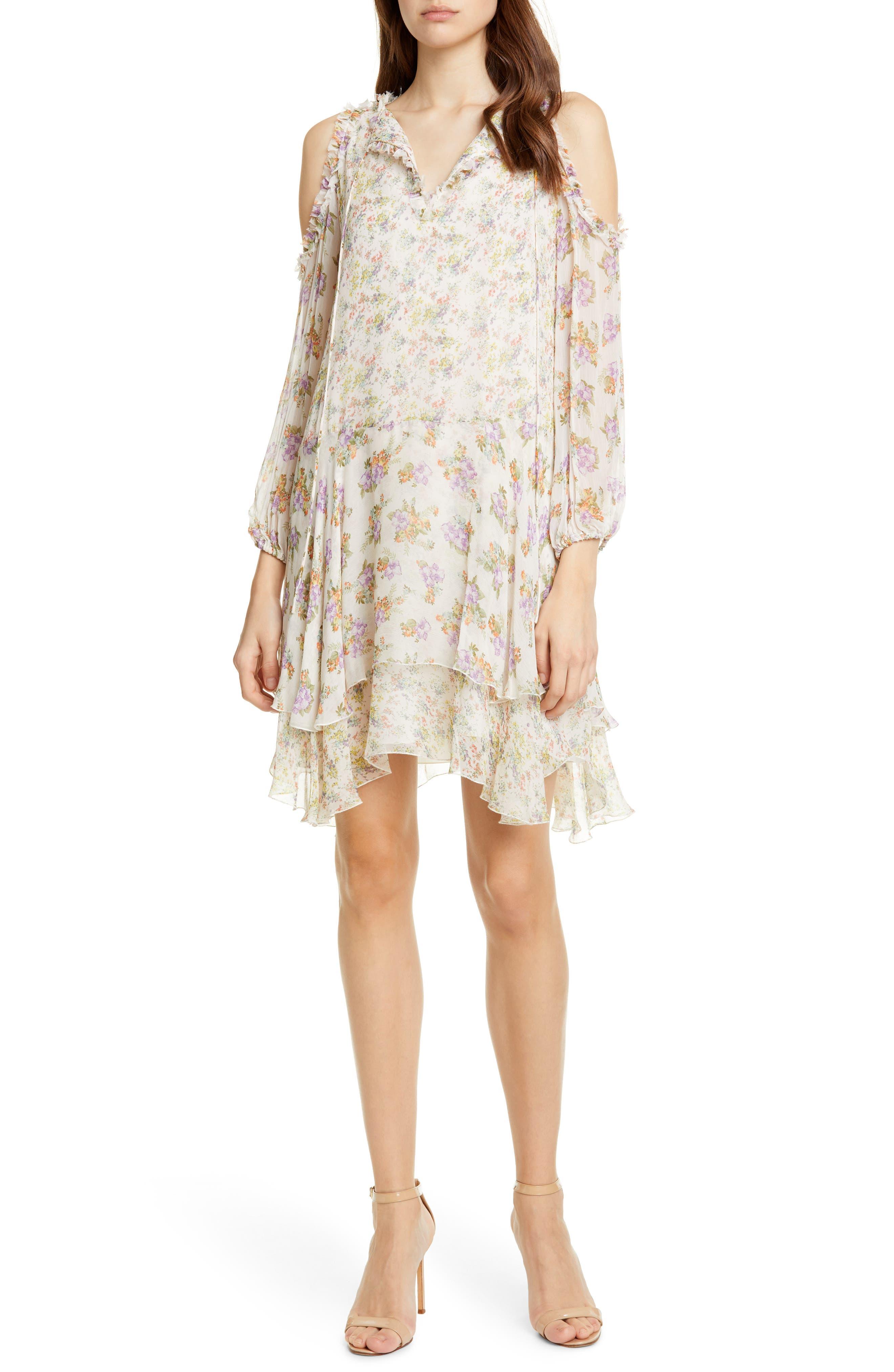 Alice + Olivia Glynda Floral Ruffle Cold Shoulder Dress