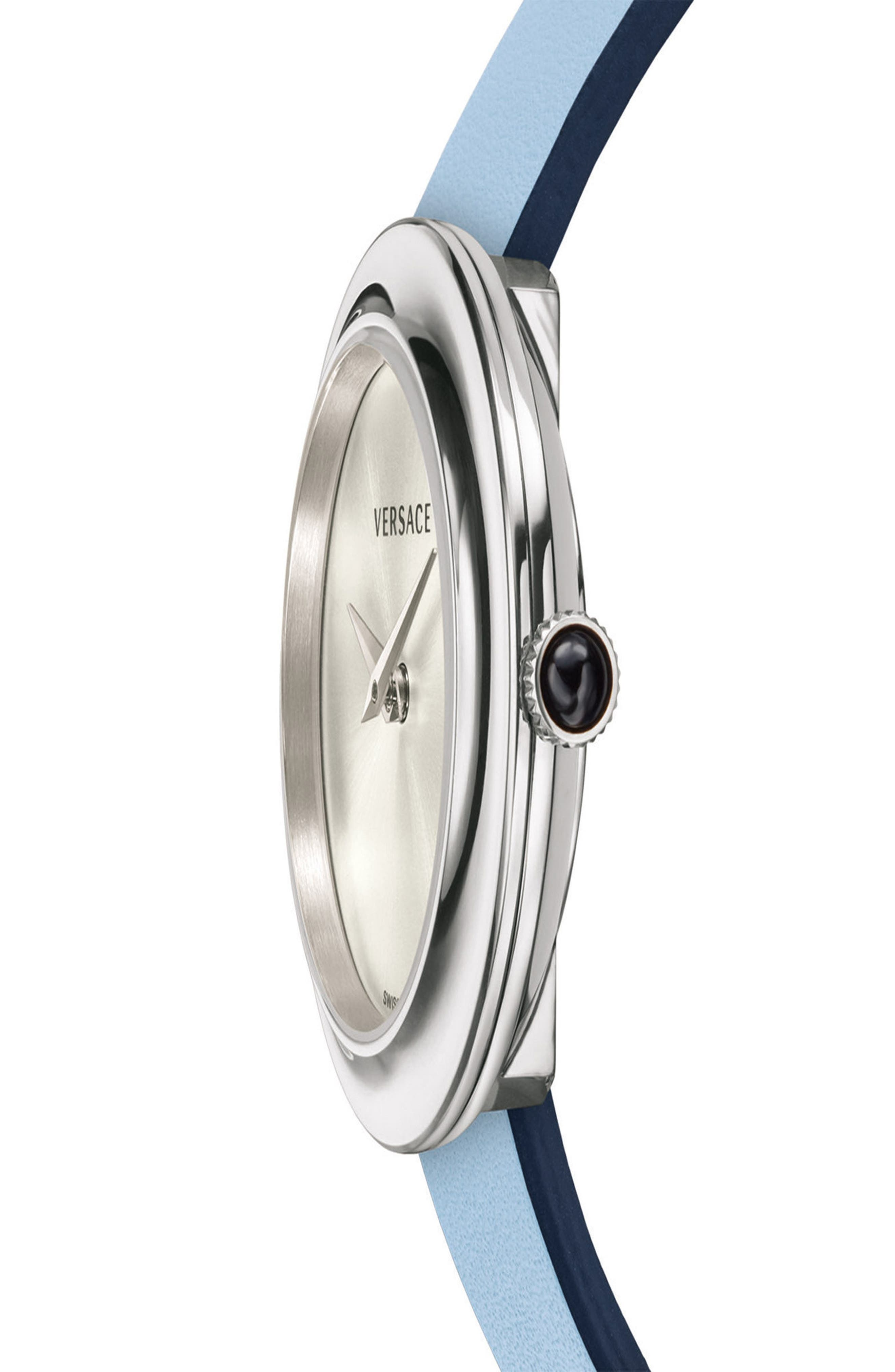 VERSACE, V-Flare Double Wrap Leather Strap Watch, 28mm, Alternate thumbnail 4, color, BLUE/ SILVER/ GOLD