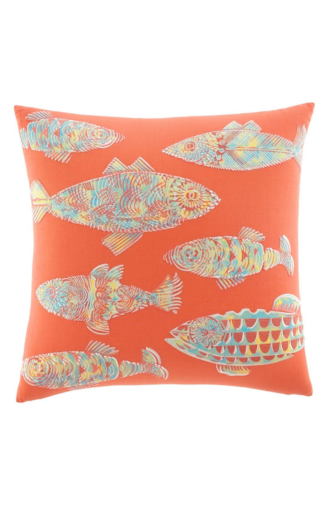 TOMMY BAHAMA, 'Batic Fish' Pillow, Main thumbnail 1, color, CORAL/ MULTI