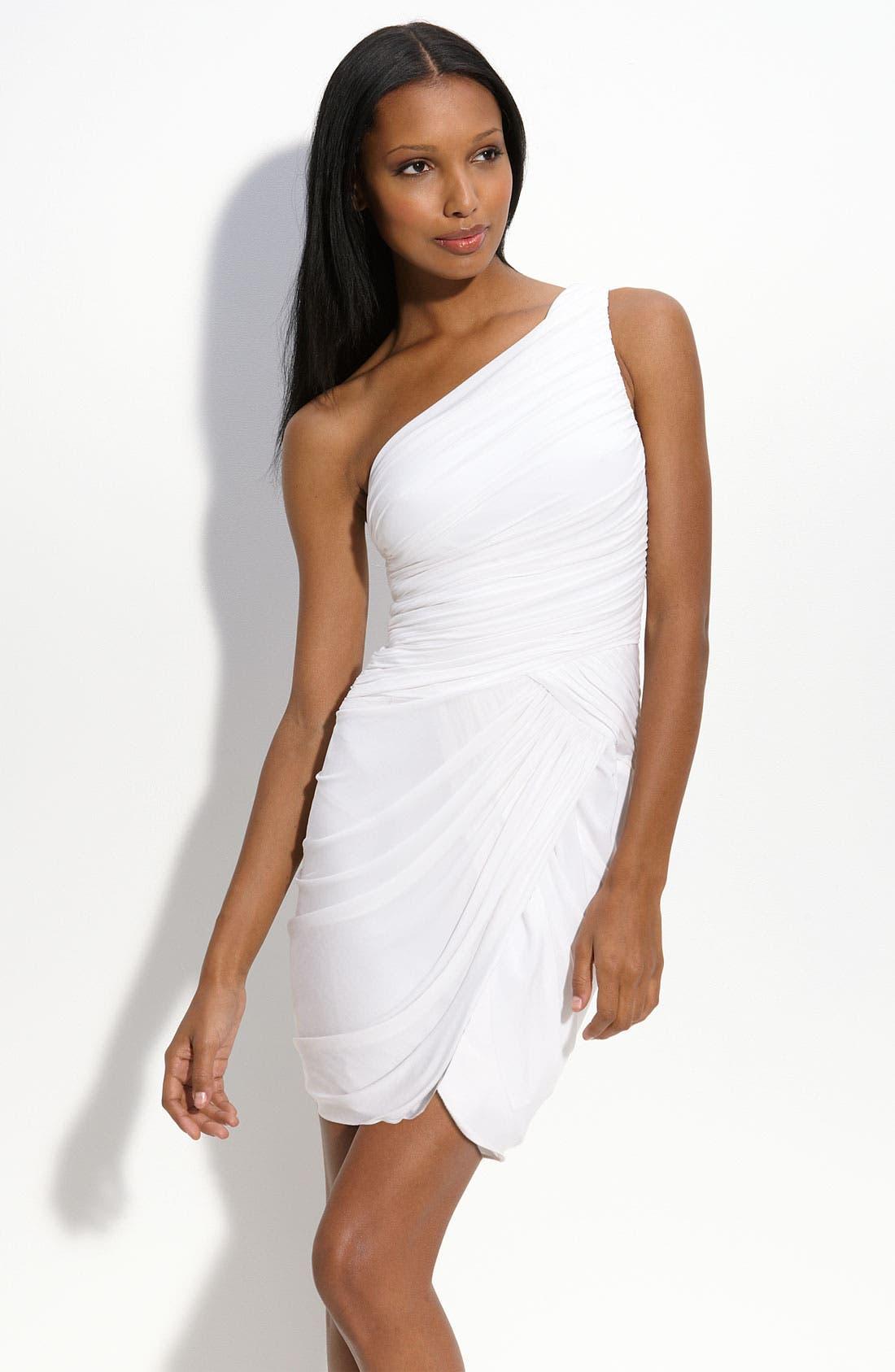 BCBGMAXAZRIA Draped One Shoulder Jersey Dress, Main, color, 100