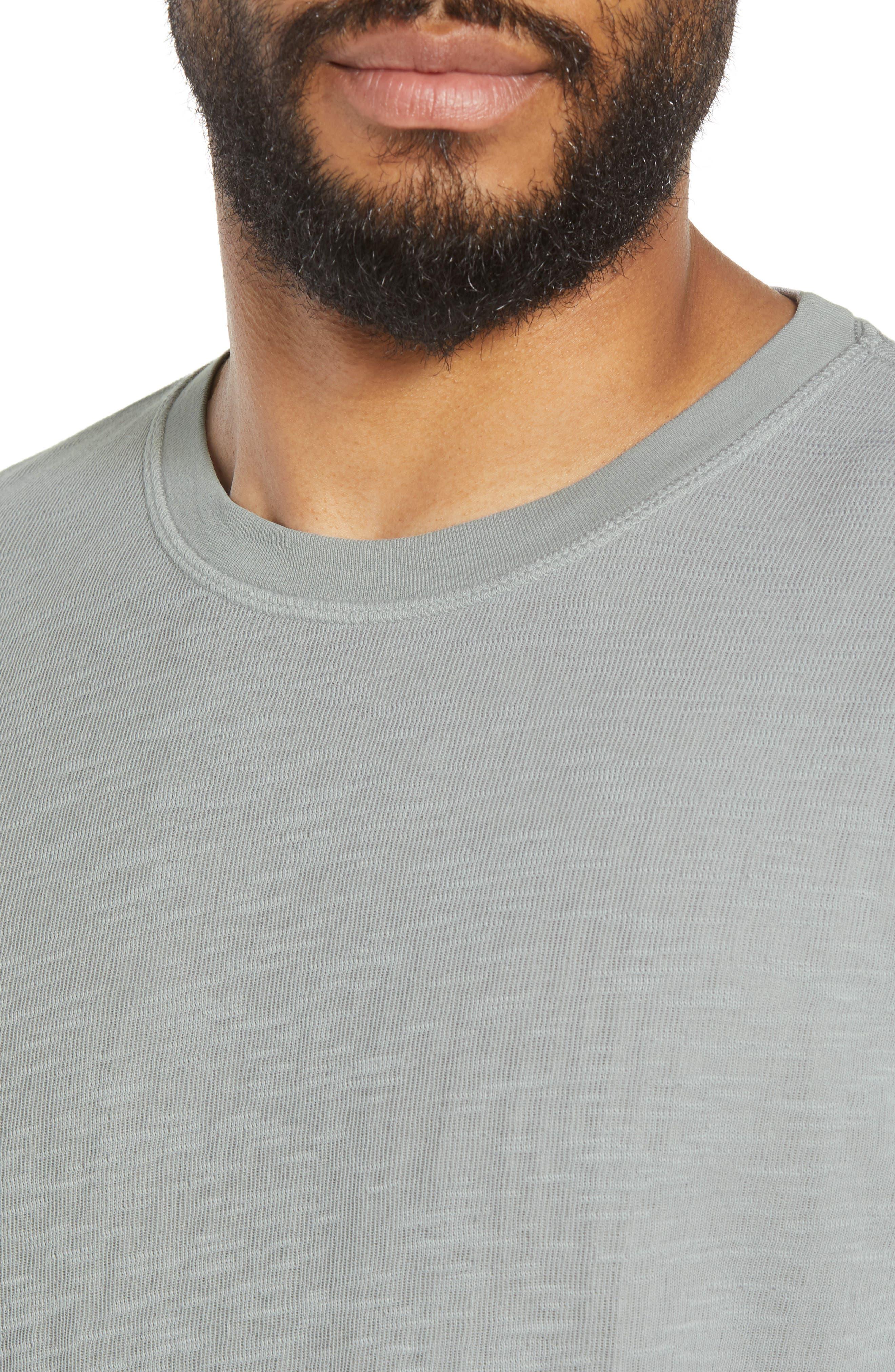 GOODLIFE, Double Layer Slim Crewneck T-Shirt, Alternate thumbnail 4, color, QUARRY