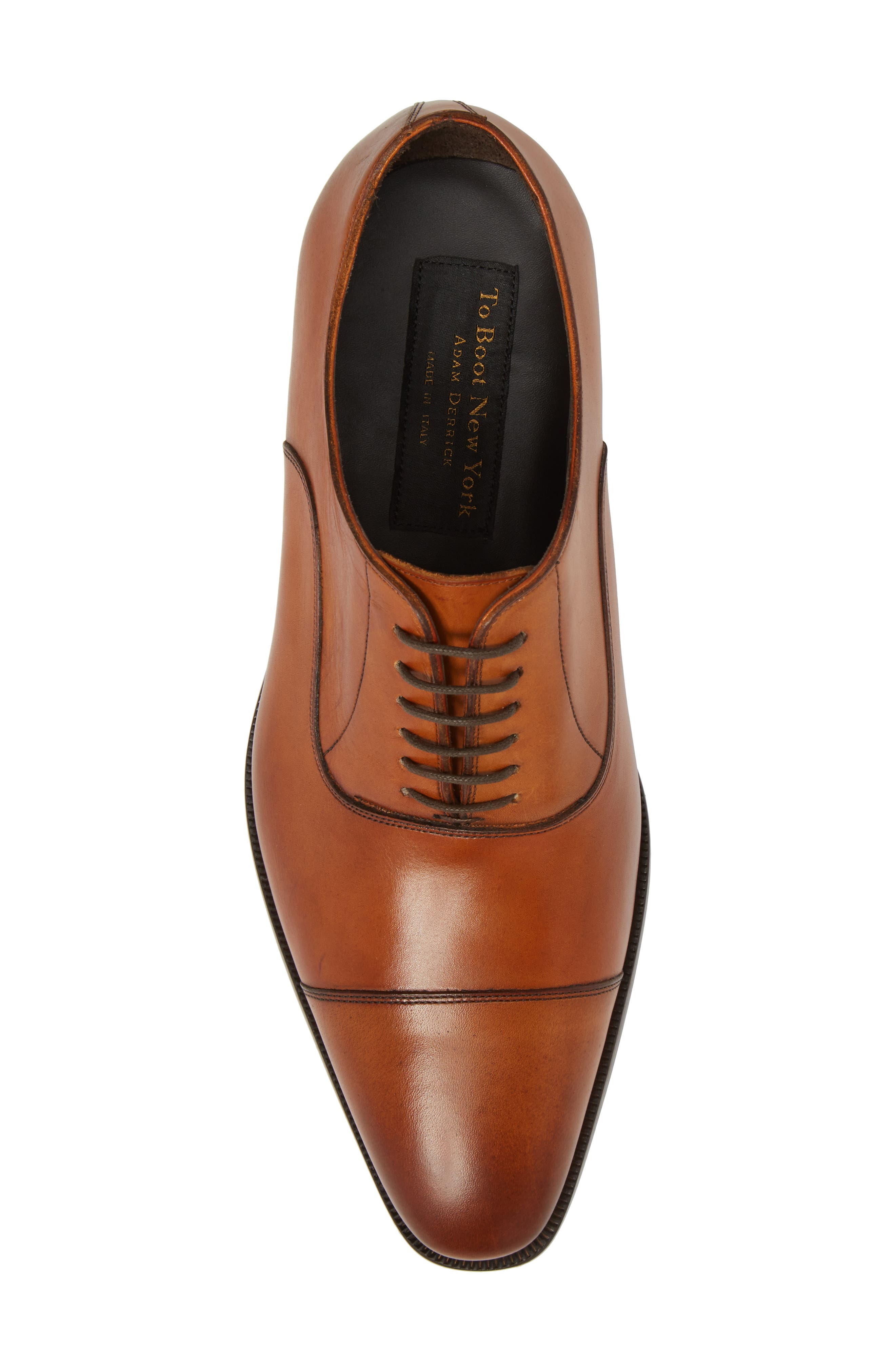 TO BOOT NEW YORK, Knoll Cap Toe Oxford, Alternate thumbnail 5, color, COGNAC LEATHER