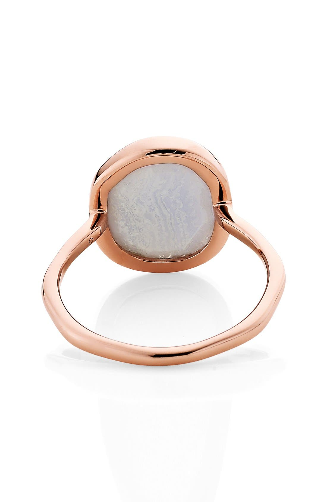 MONICA VINADER, Siren Medium Semiprecious Stone Stacking Ring, Alternate thumbnail 5, color, ROSE GOLD/ BLUE LACE AGATE