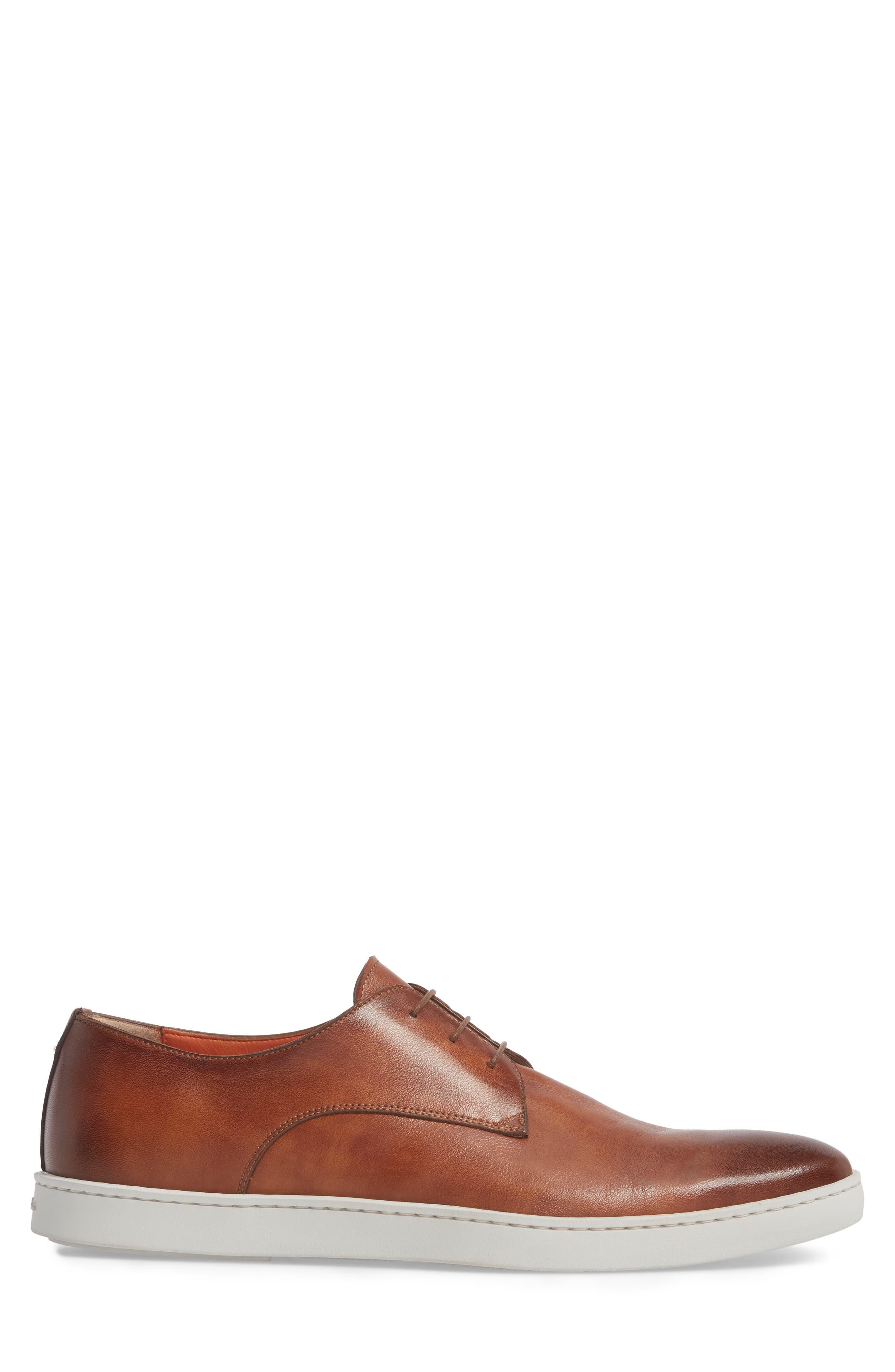 SANTONI, Doyle Plain Toe Derby Sneaker, Alternate thumbnail 3, color, TAN