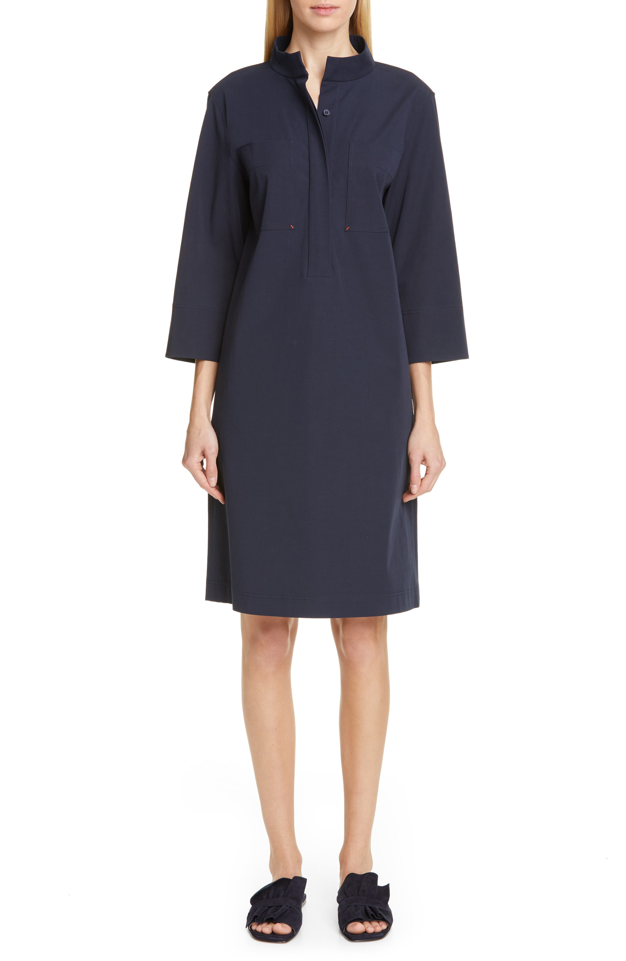 LAFAYETTE 148 NEW YORK, Mitchell Shift Dress, Main thumbnail 1, color, INK