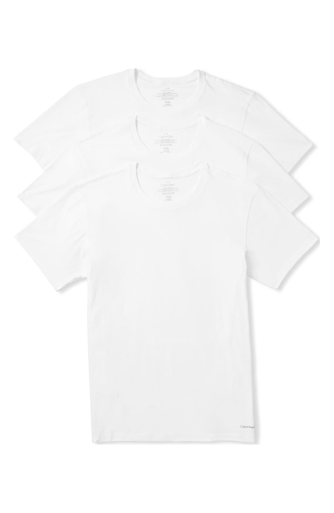 CALVIN KLEIN, 3-Pack Cotton T-Shirt, Main thumbnail 1, color, WHITE