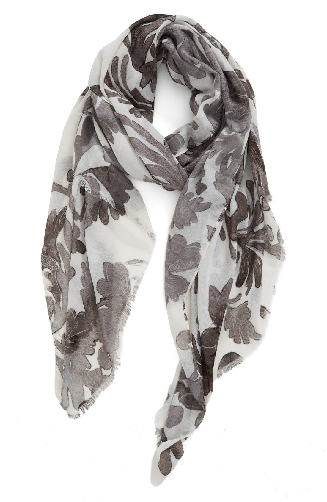 NORDSTROM, 'Antique Damask' Print Scarf, Main thumbnail 1, color, 030