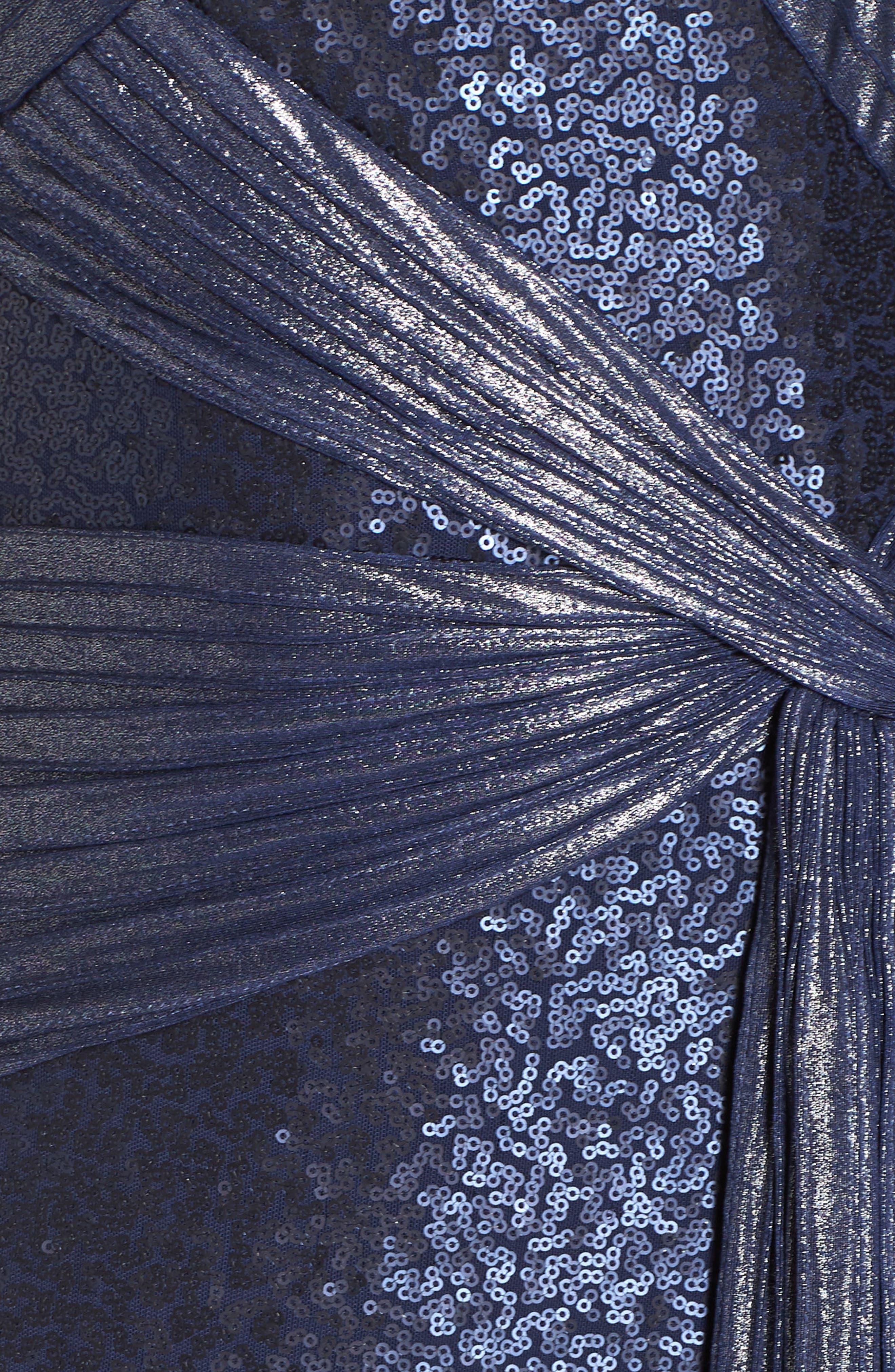 TADASHI SHOJI, Pintuck Sequin Gown, Alternate thumbnail 6, color, MIDNIGHT