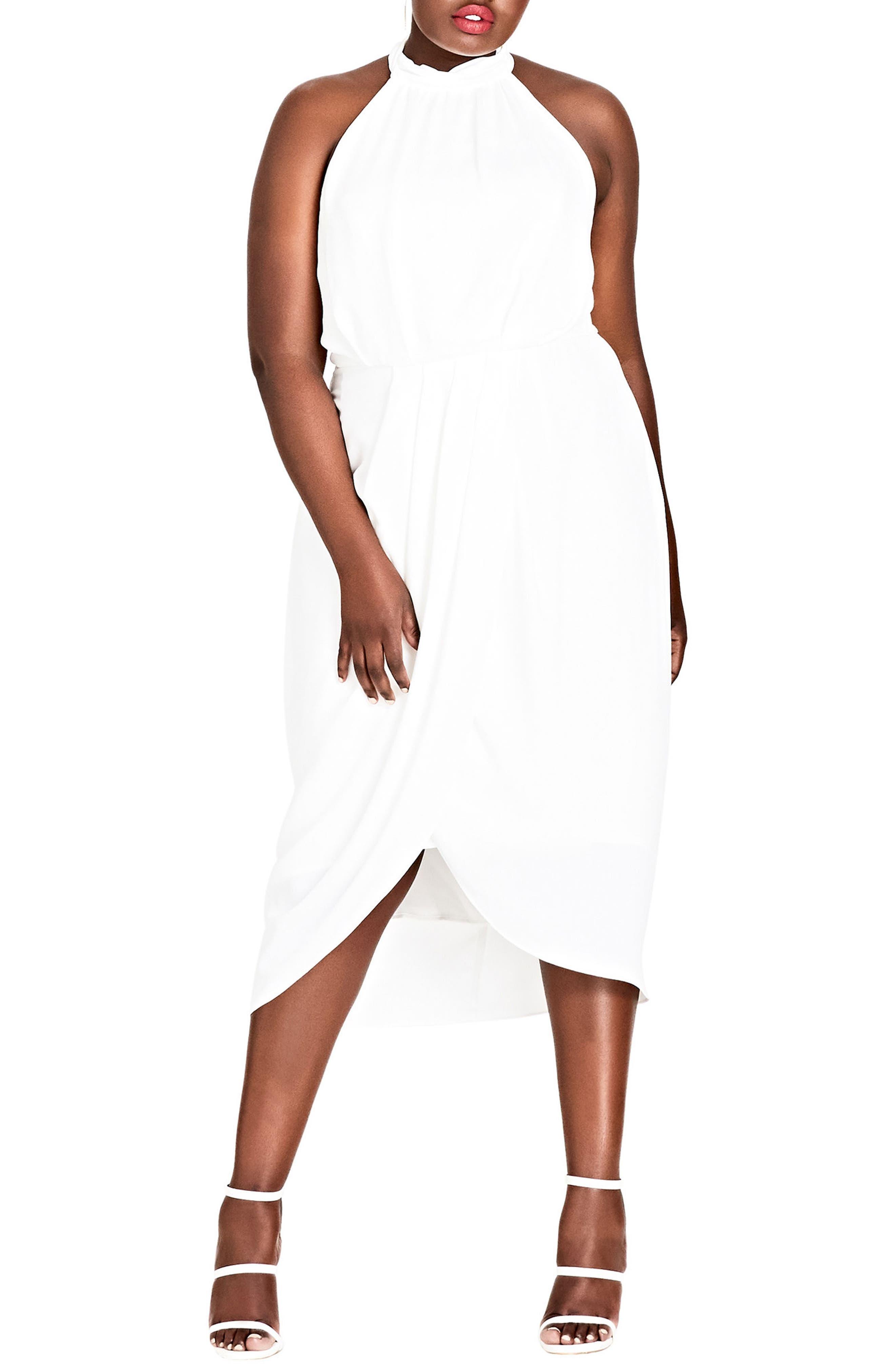 CITY CHIC Romance Blouson Halter Dress, Main, color, IVORY