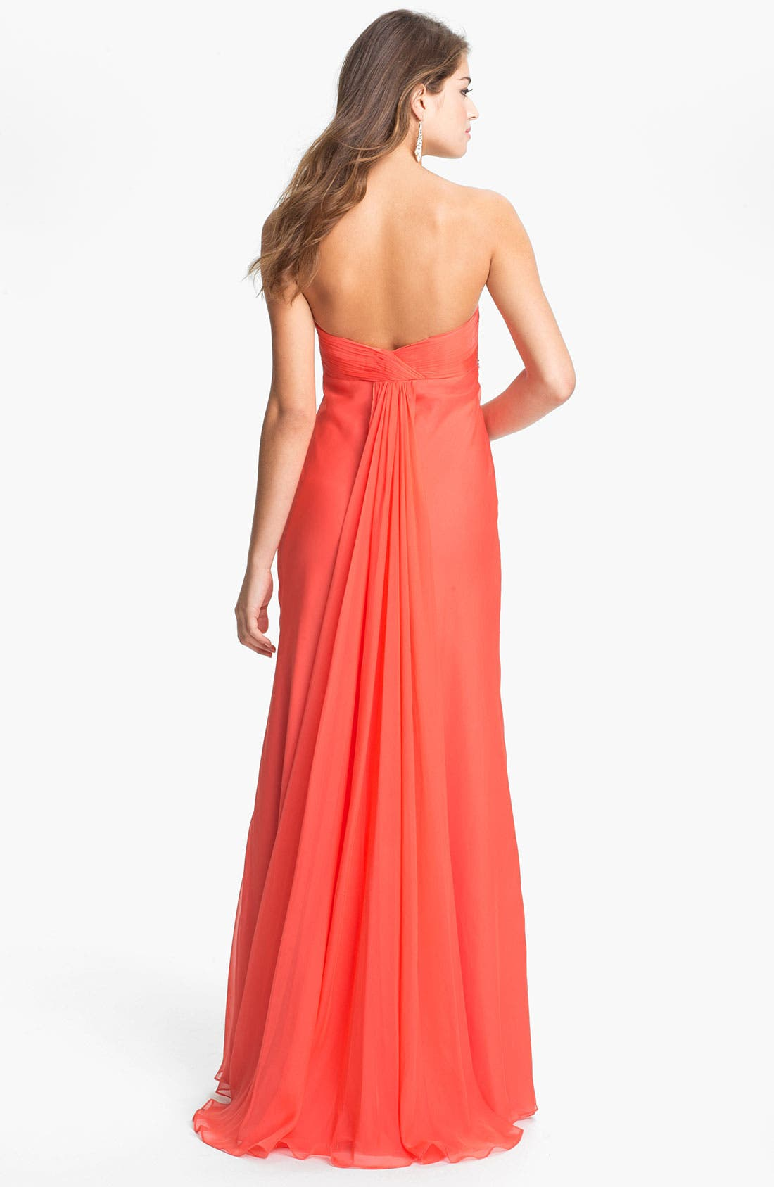 FAVIANA, Embellished Strapless Chiffon Gown, Alternate thumbnail 3, color, 839