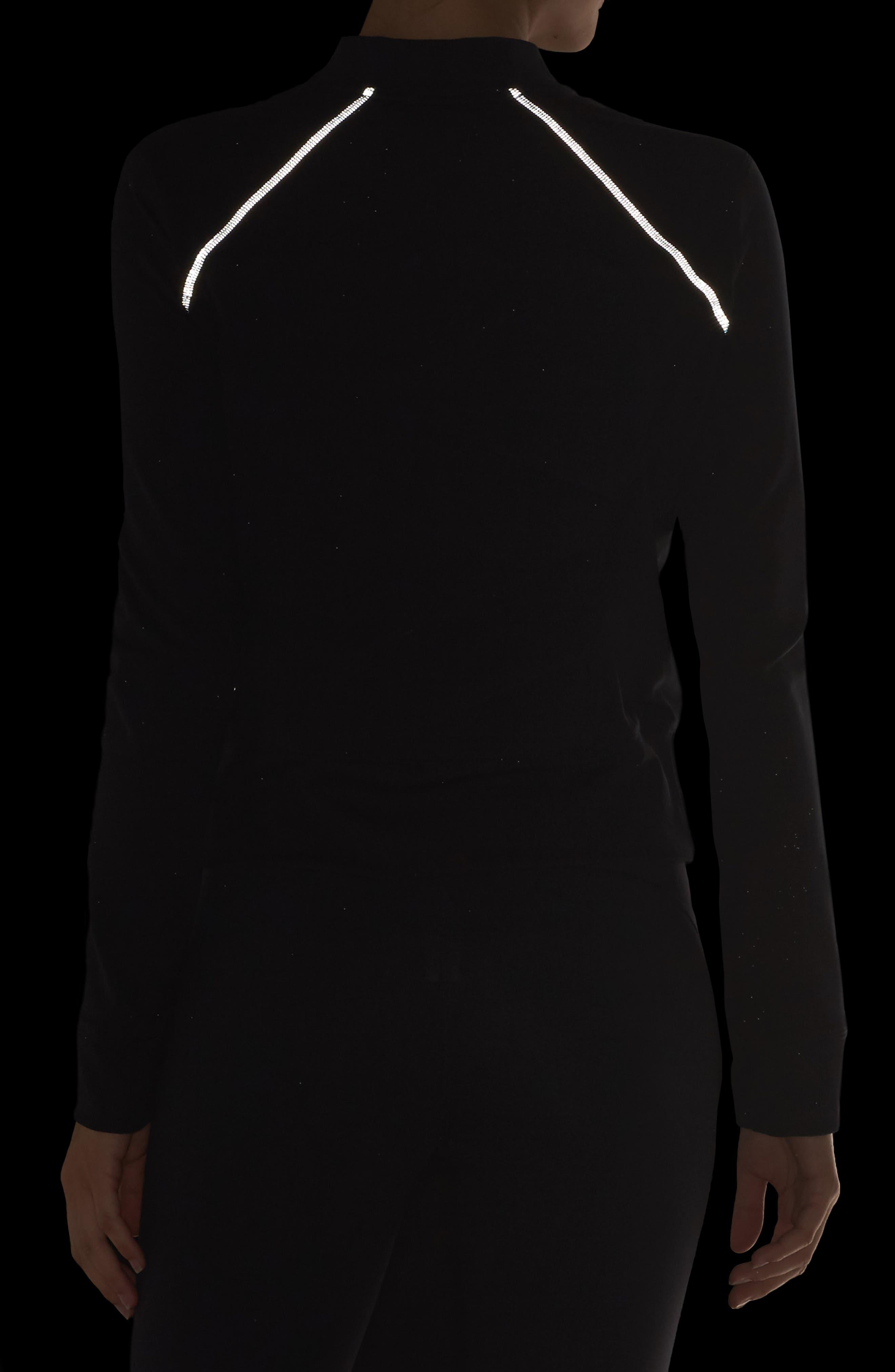 ZELLA, Twin High Waist Crop Leggings, Alternate thumbnail 5, color, BLACK