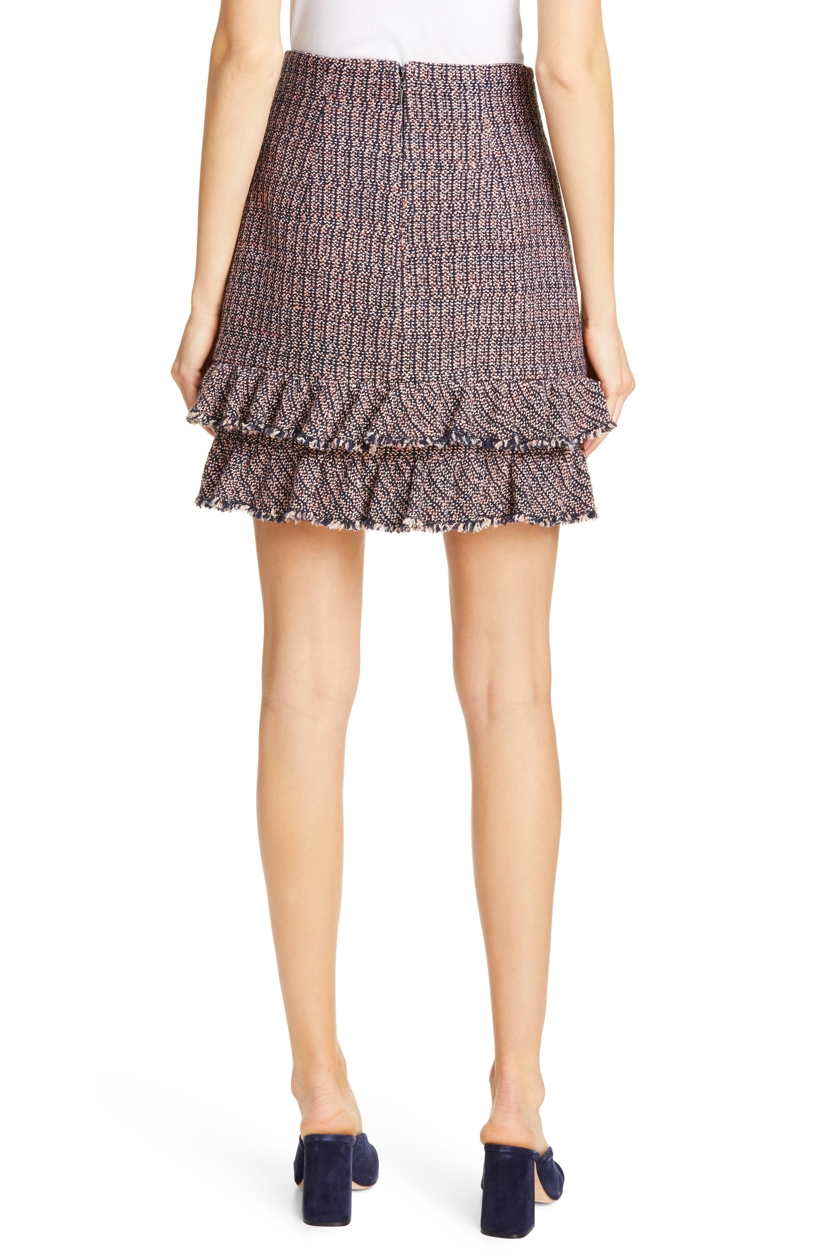 REBECCA TAYLOR, Ruffle Hem Tweed Miniskirt, Alternate thumbnail 2, color, PINK/ NAVY COMBO