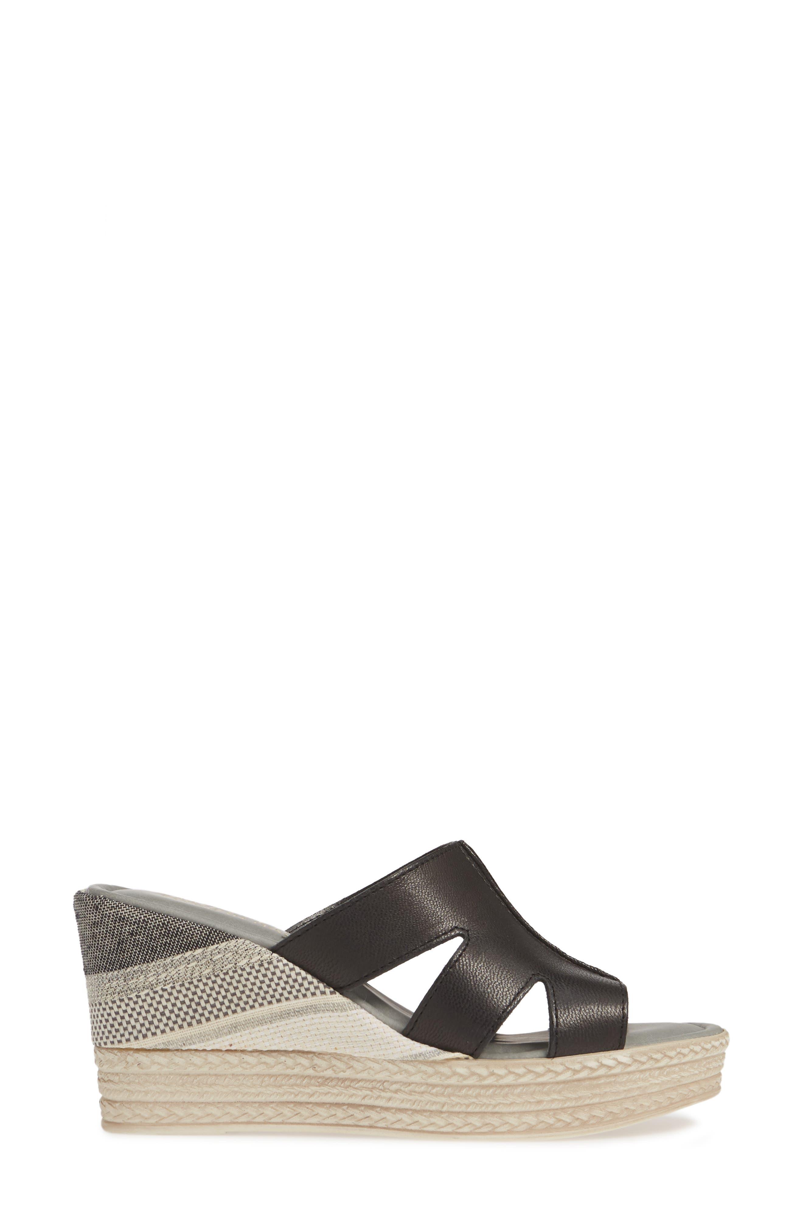 BELLA VITA, Rox Wedge Slide Sandal, Alternate thumbnail 3, color, BLACK ITALIAN LEATHER
